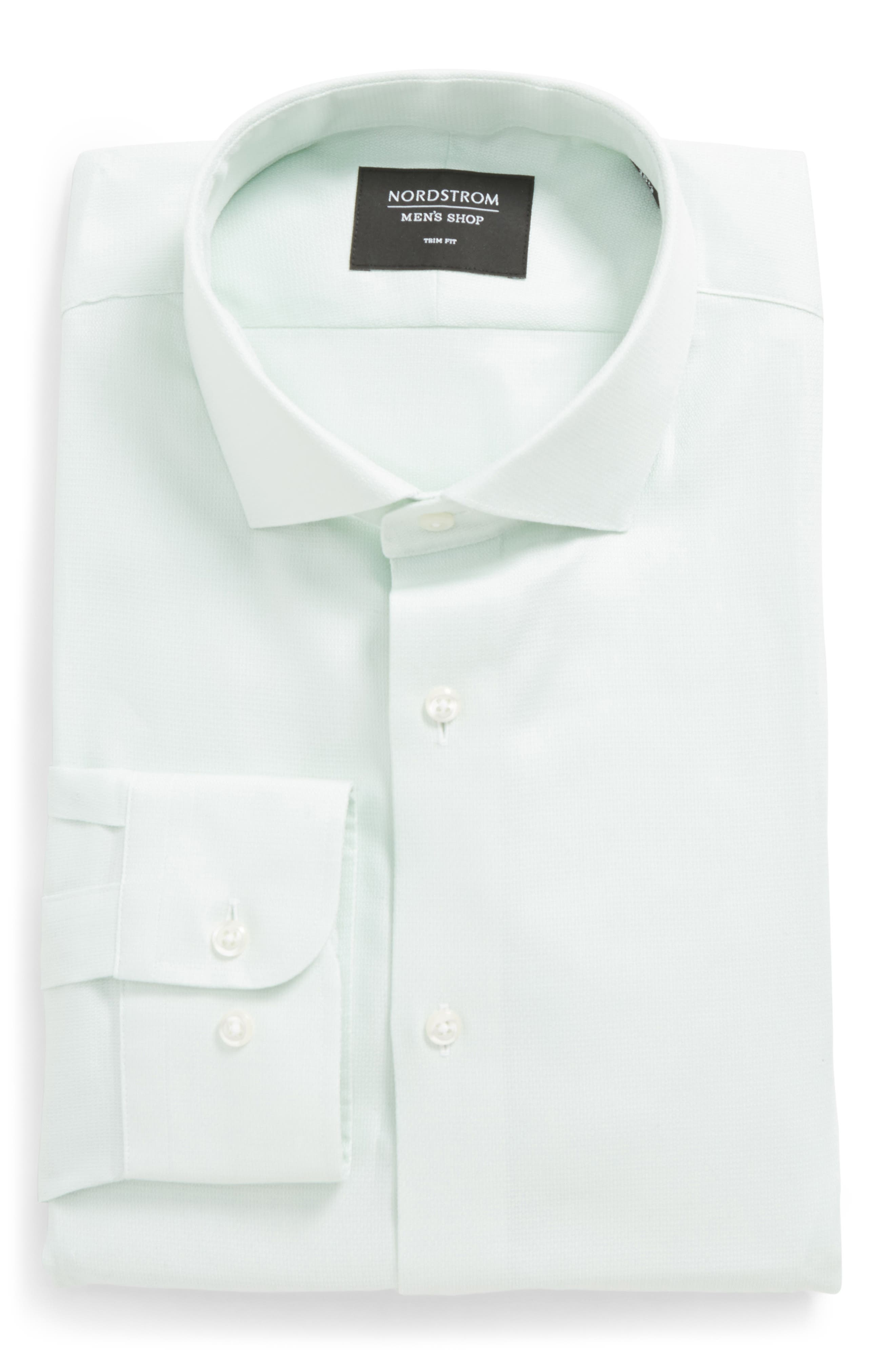 Trim Fit Solid Dress Shirt,                             Alternate thumbnail 6, color,                             Green Screen