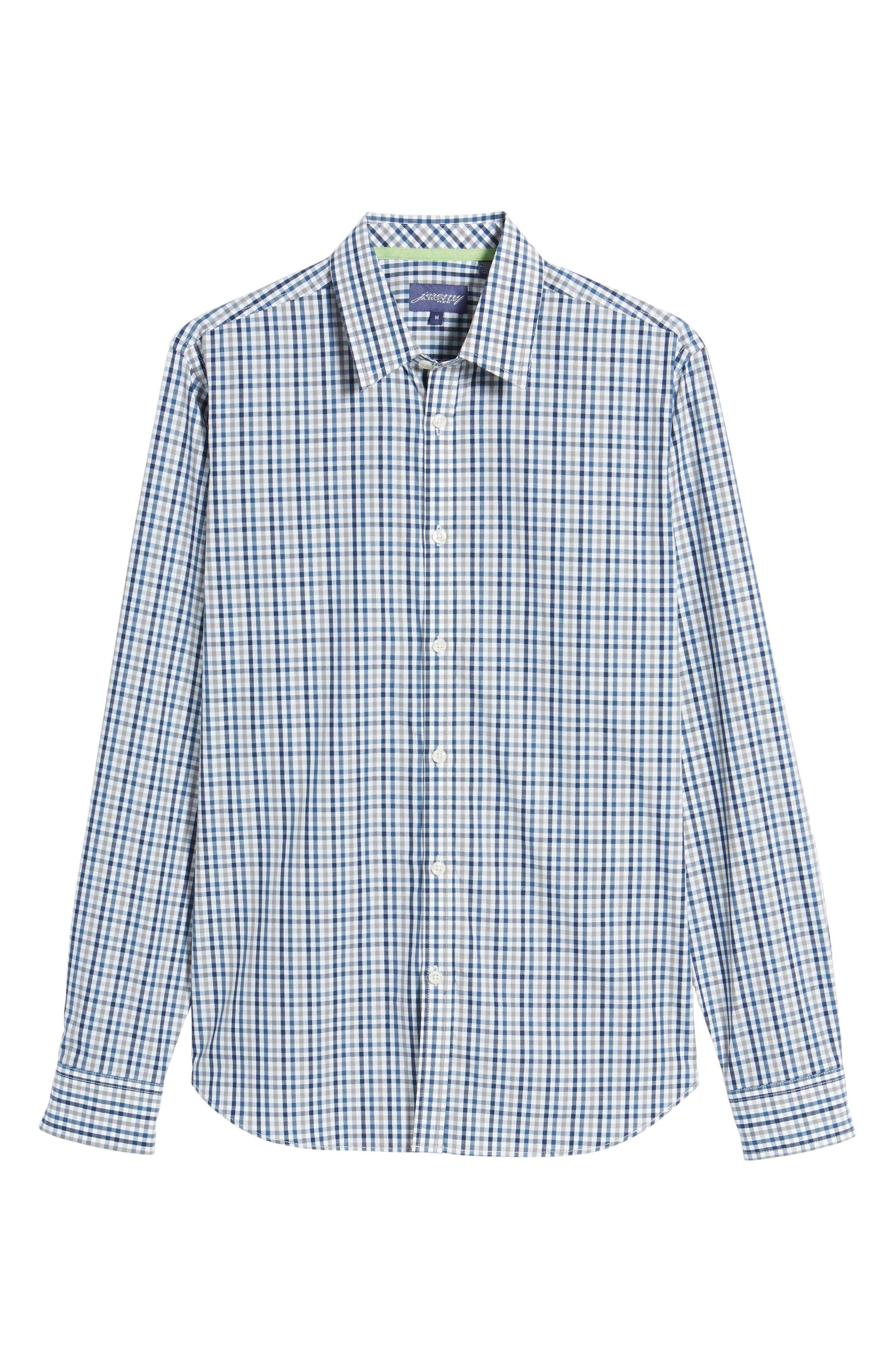 Comfort Fit Check Sport Shirt,                             Alternate thumbnail 6, color,                             Medium Blue