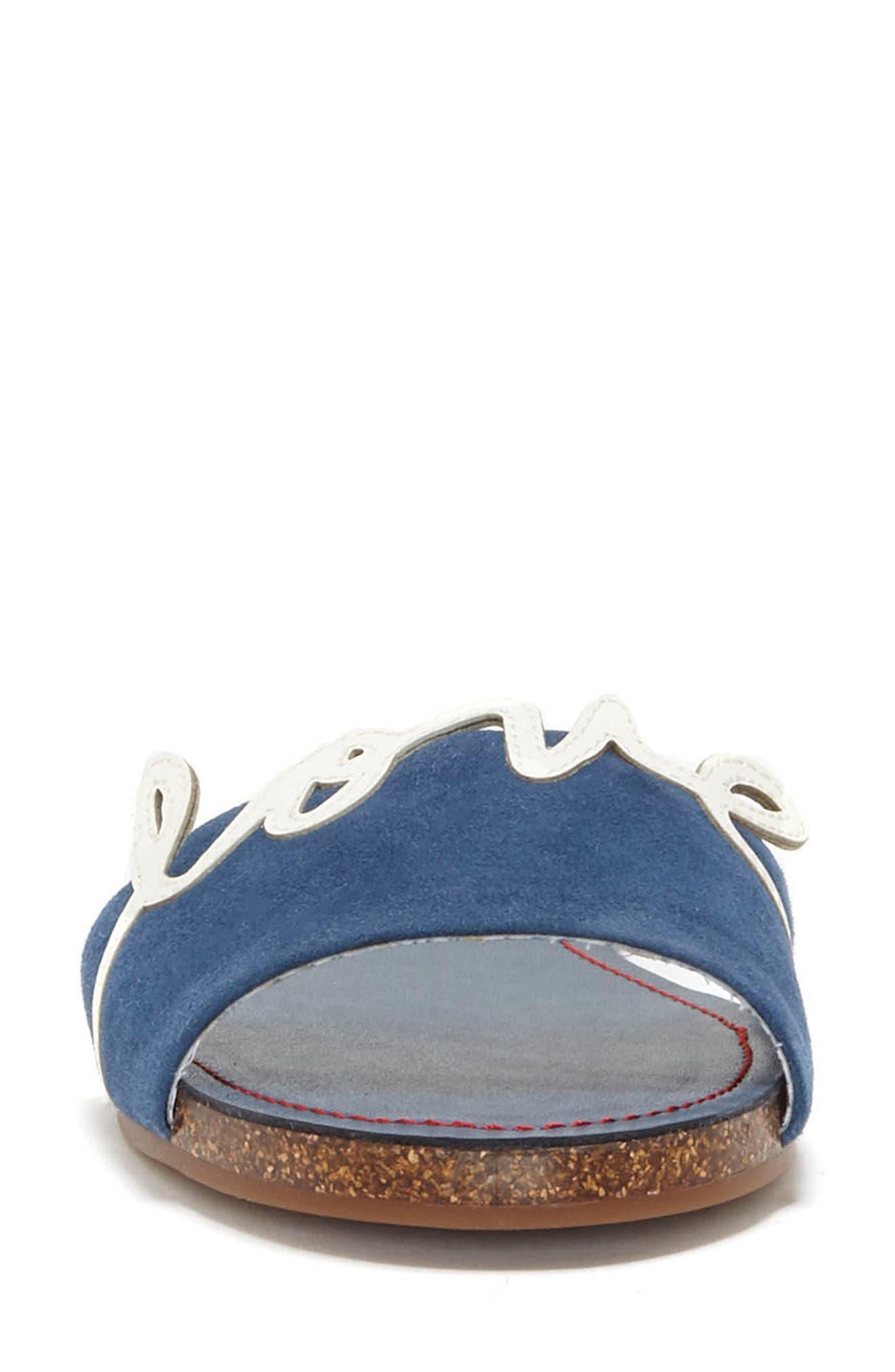 Sharlin Slide Sandal,                             Alternate thumbnail 4, color,                             Oxford Blue/ Milk