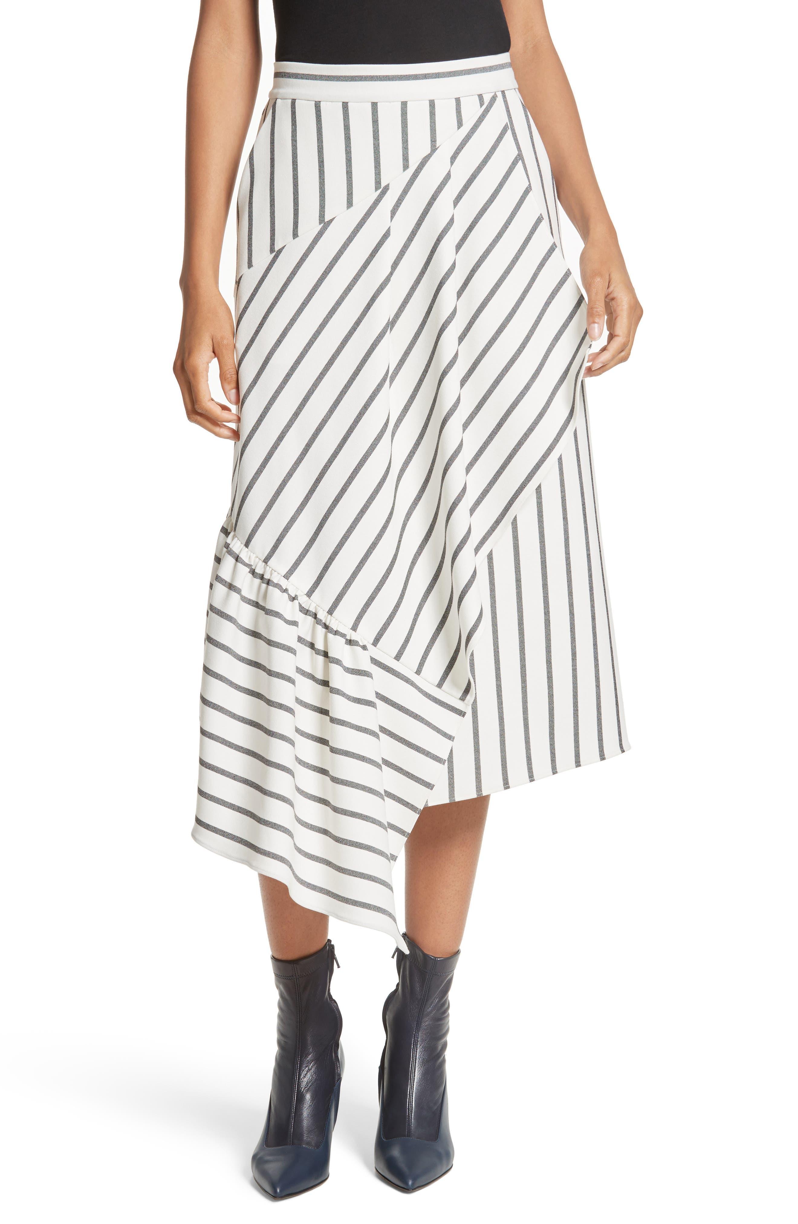 Tibi Lucci Stripe Midi Skirt