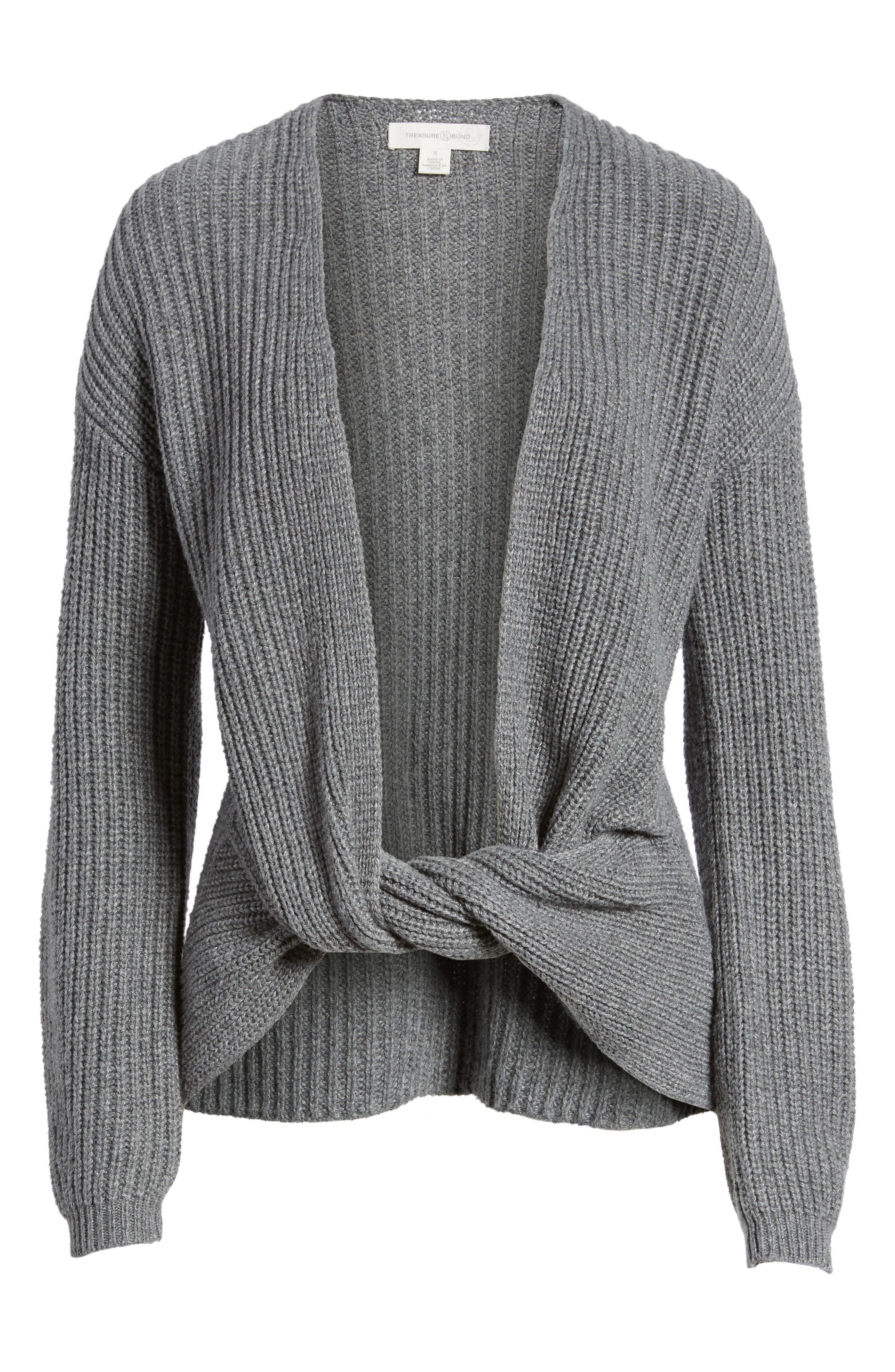 Twist Front Sweater,                             Alternate thumbnail 6, color,                             Grey Dark Heather