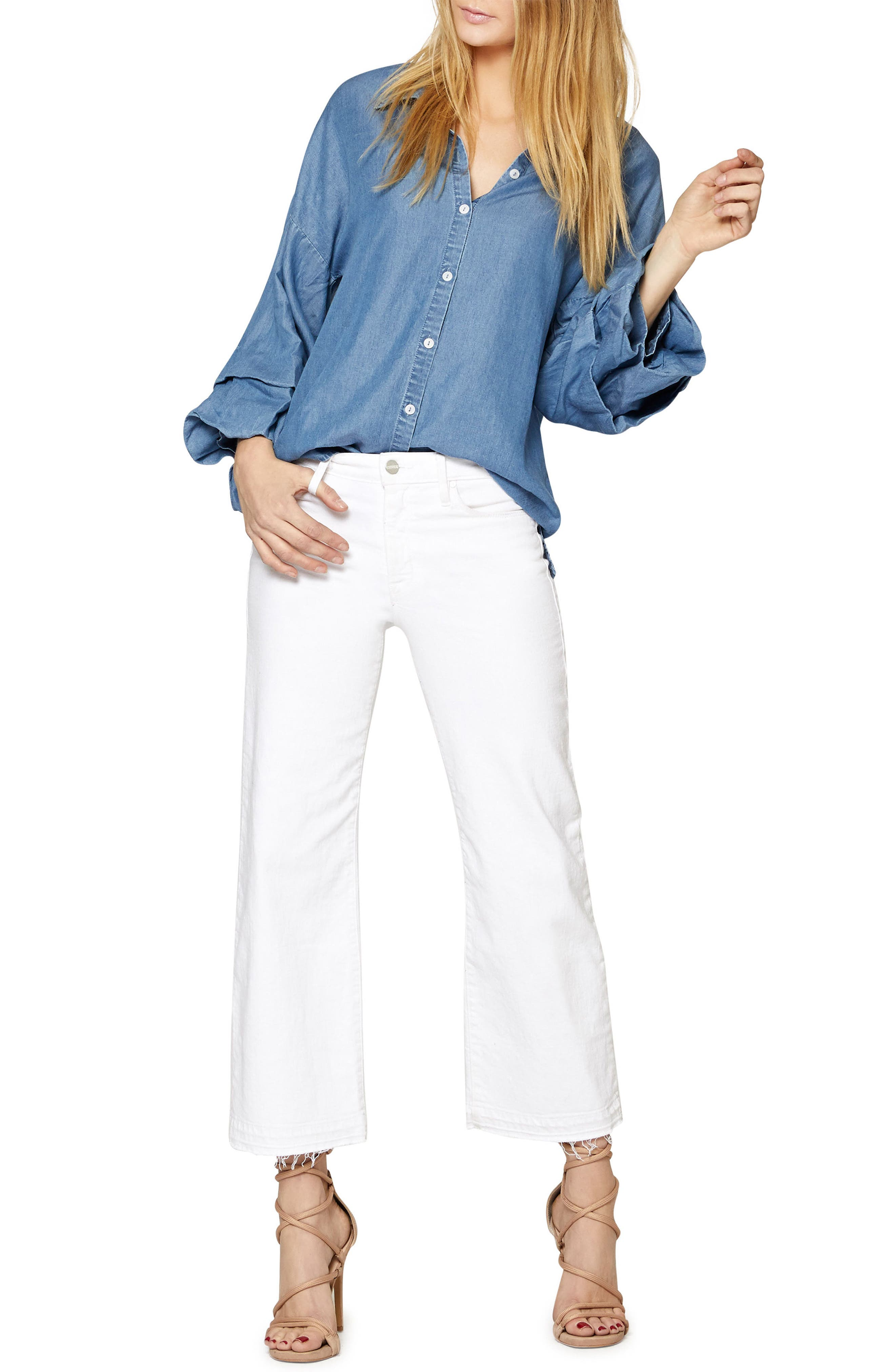 Brynn Gathered Sleeve Shirt,                             Alternate thumbnail 3, color,                             Sky Wash
