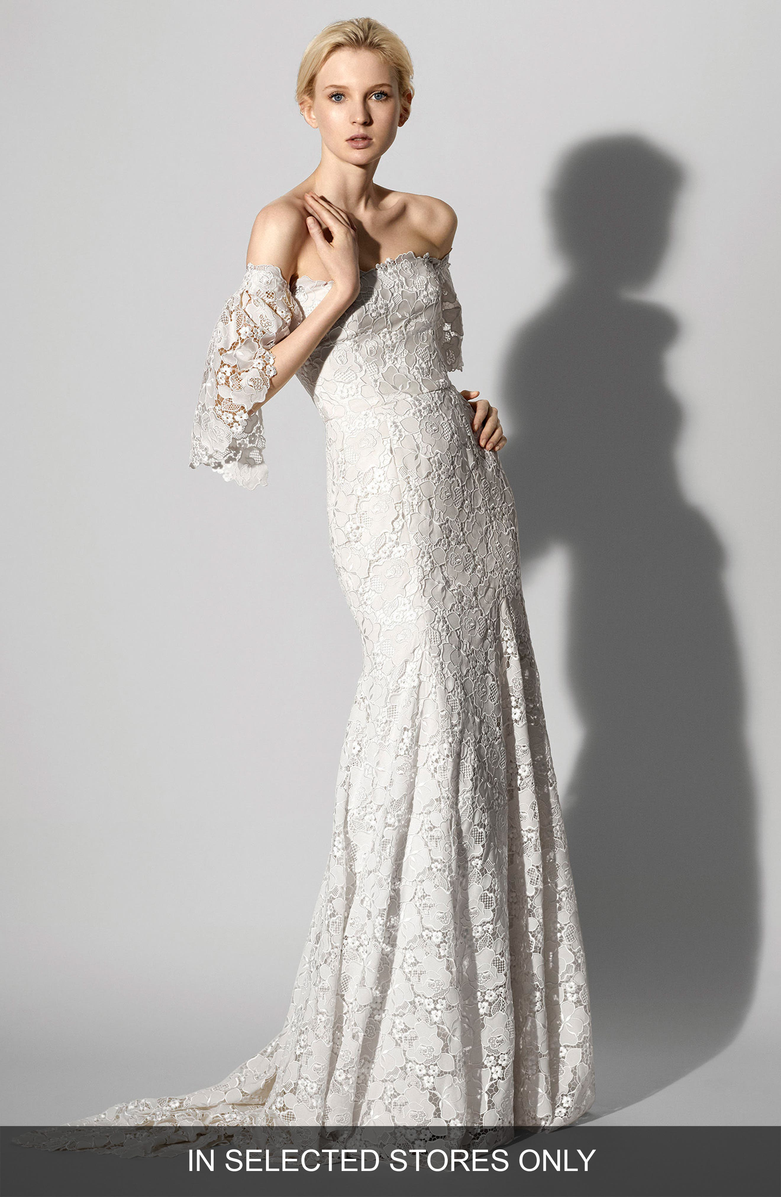 Feliciity Lace Off the Shoulder Gown,                         Main,                         color, Ivory