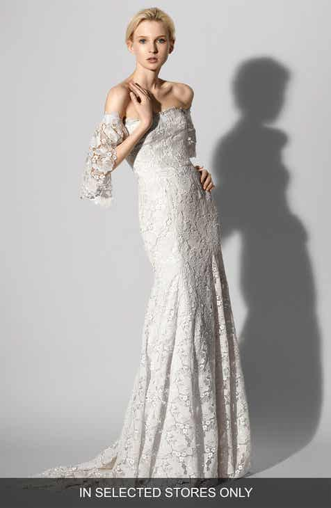 Wedding dresses bridal gowns nordstrom carolina herrera feliciity lace off the shoulder gown junglespirit Choice Image