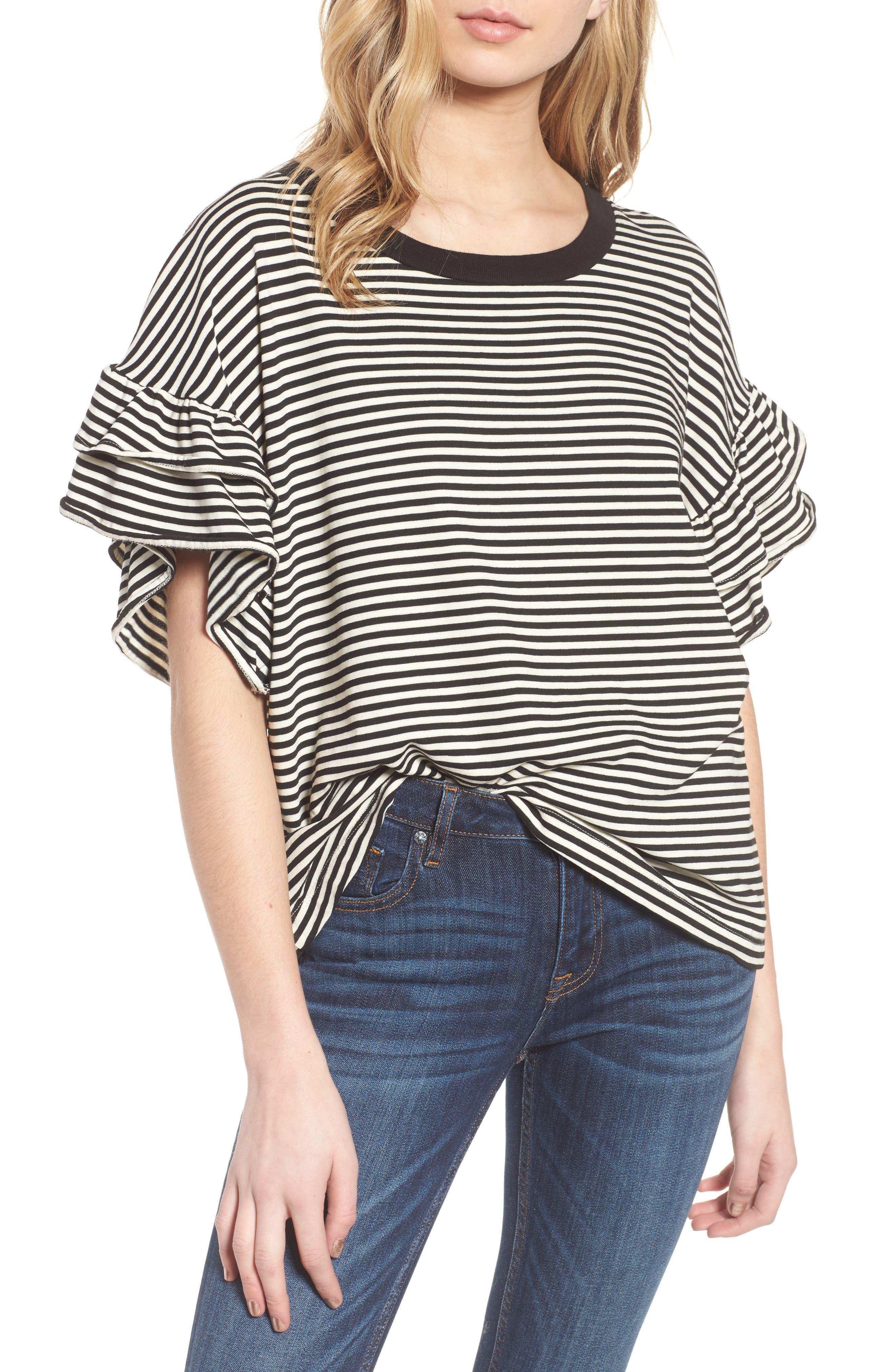The Carina Tee,                         Main,                         color, Black And White Feeder Stripe