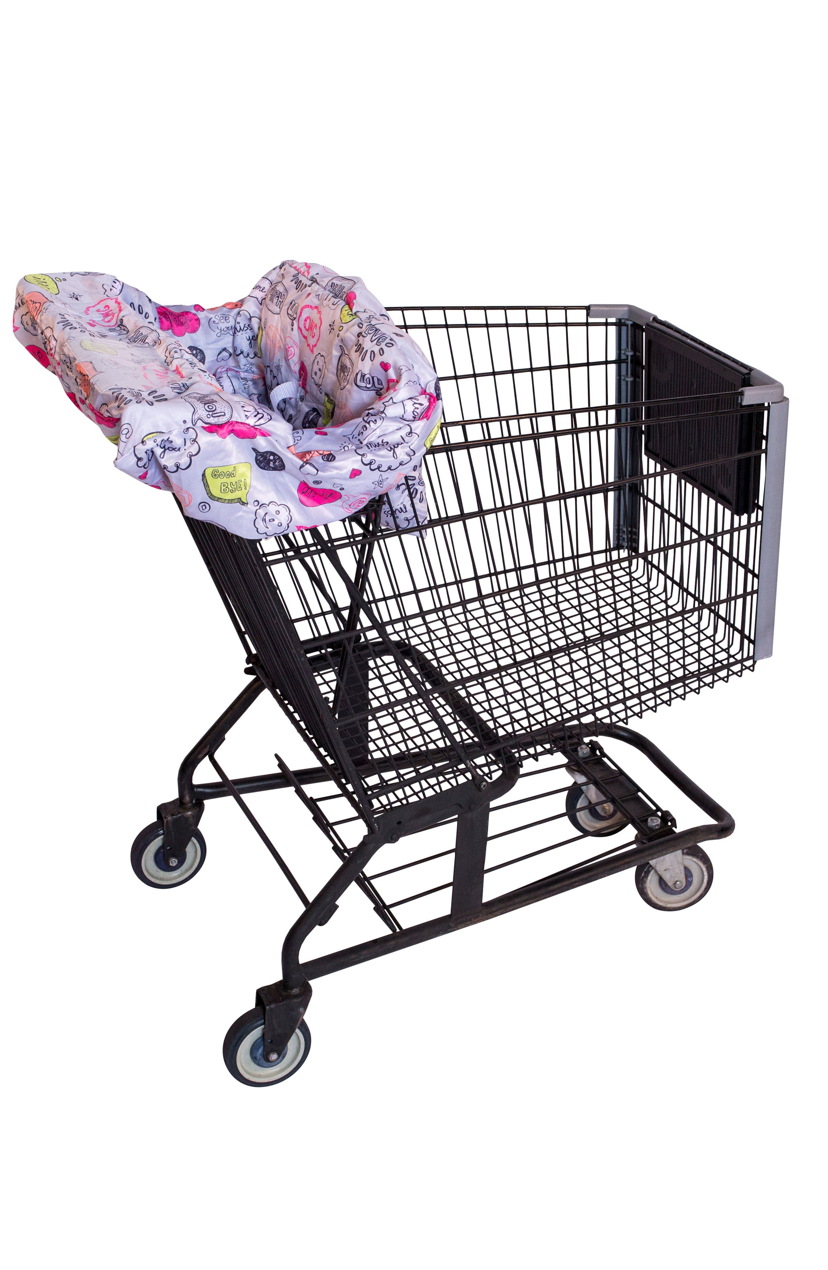 Highchair/Shopping Cart Cover,                             Main thumbnail 1, color,                             Grey Text Bubble
