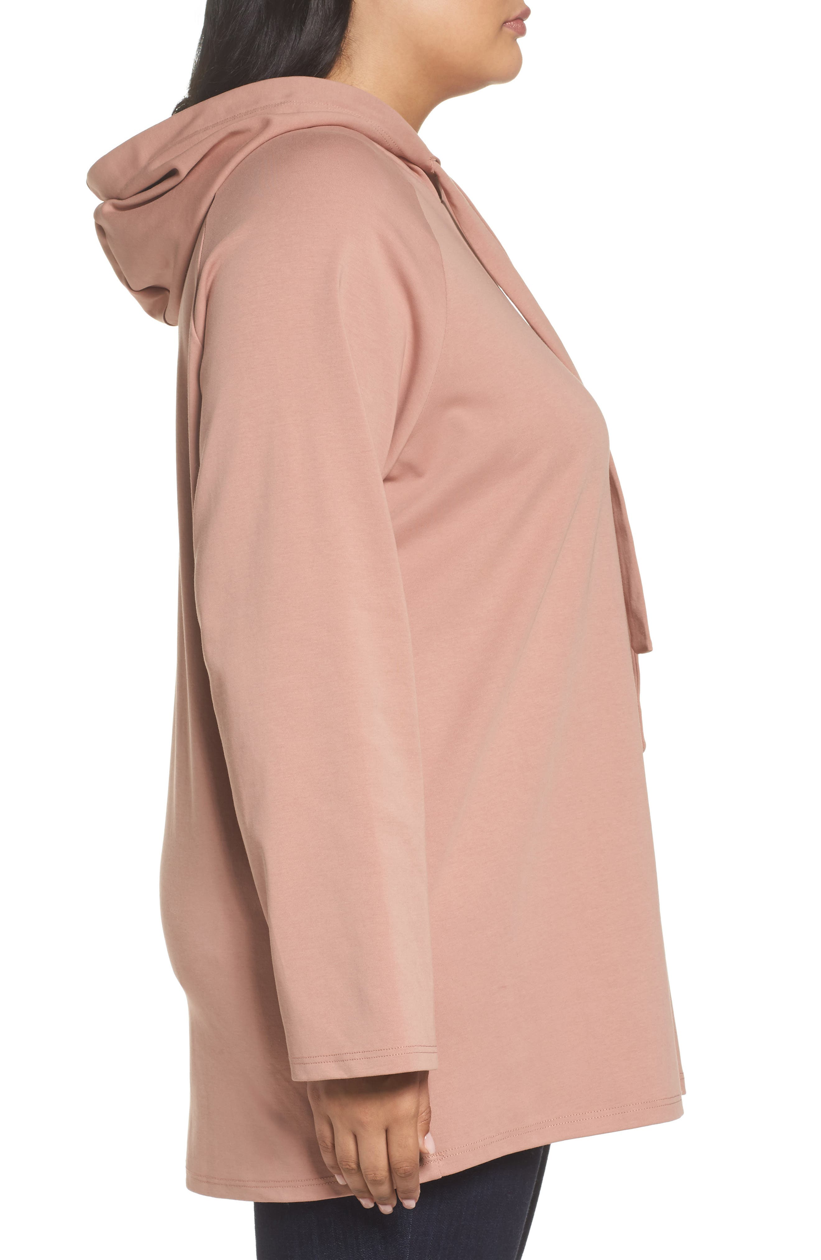 Hoodie Tunic,                             Alternate thumbnail 3, color,                             Dusty Rose