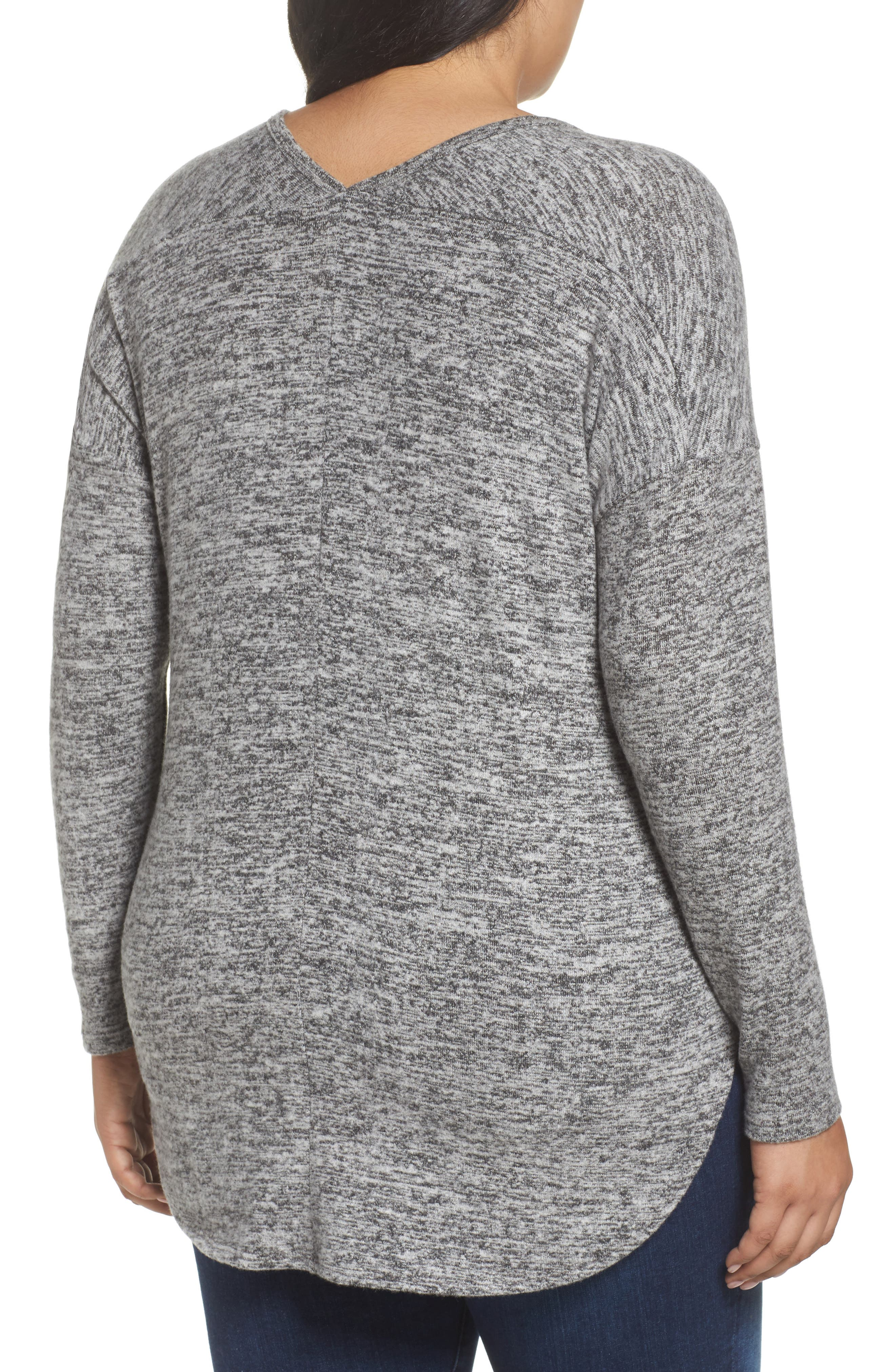 High/Low Knit Top,                             Alternate thumbnail 2, color,                             Charcoal Grey