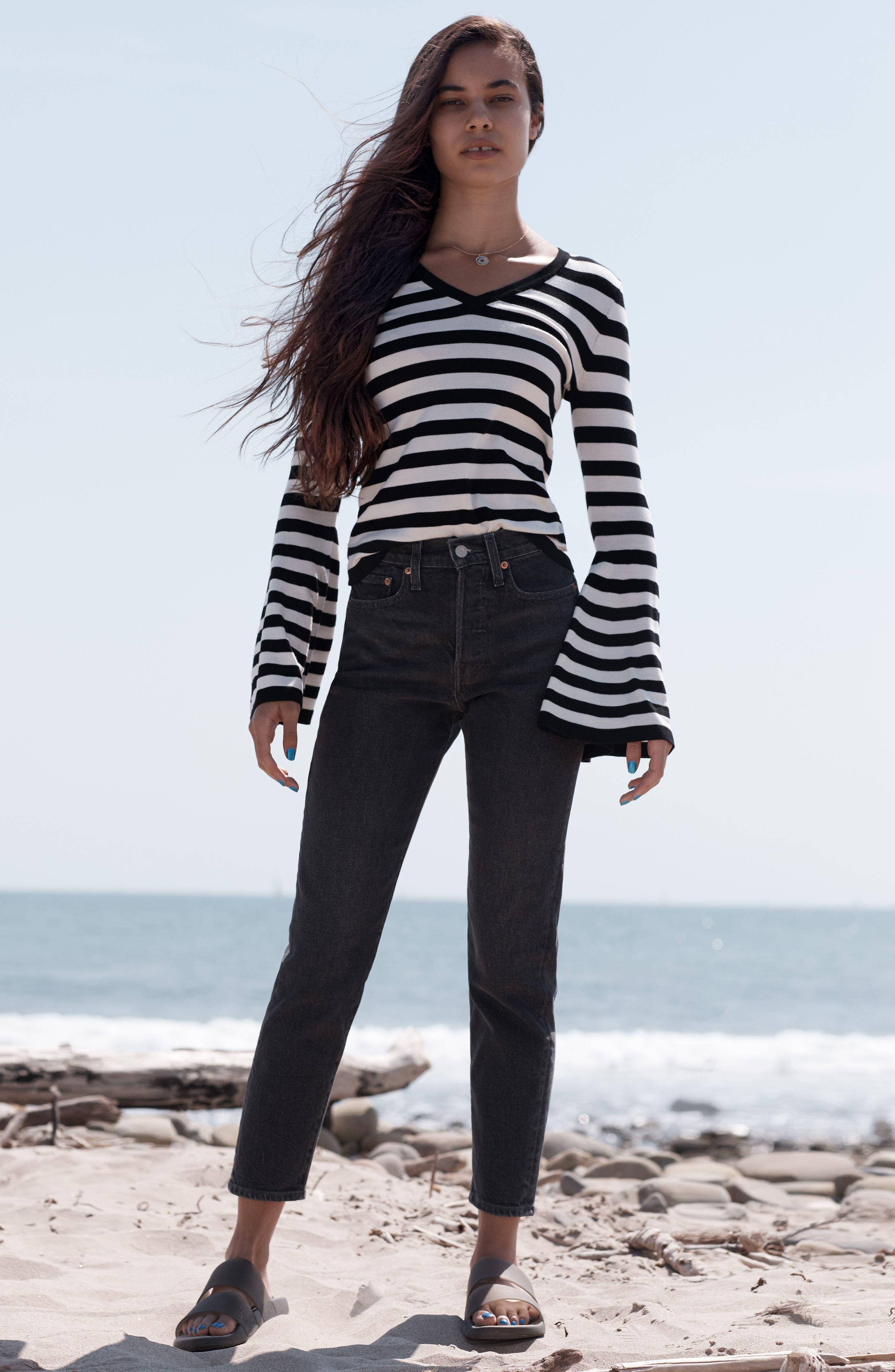Bell Sleeve V-Neck Sweater,                             Alternate thumbnail 2, color,                             Black/ White