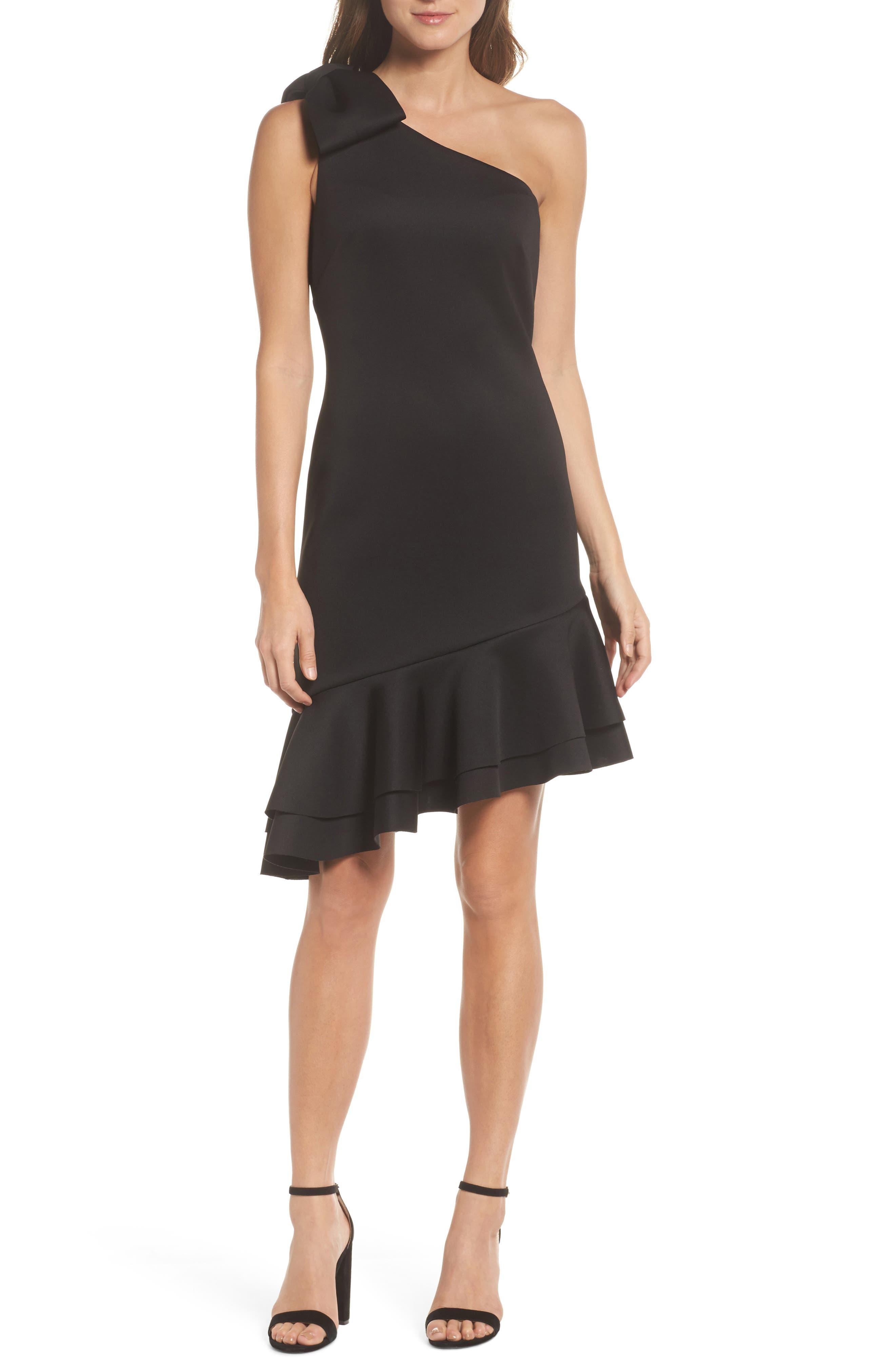 One-Shoulder Asymmetric Dress,                         Main,                         color, Black