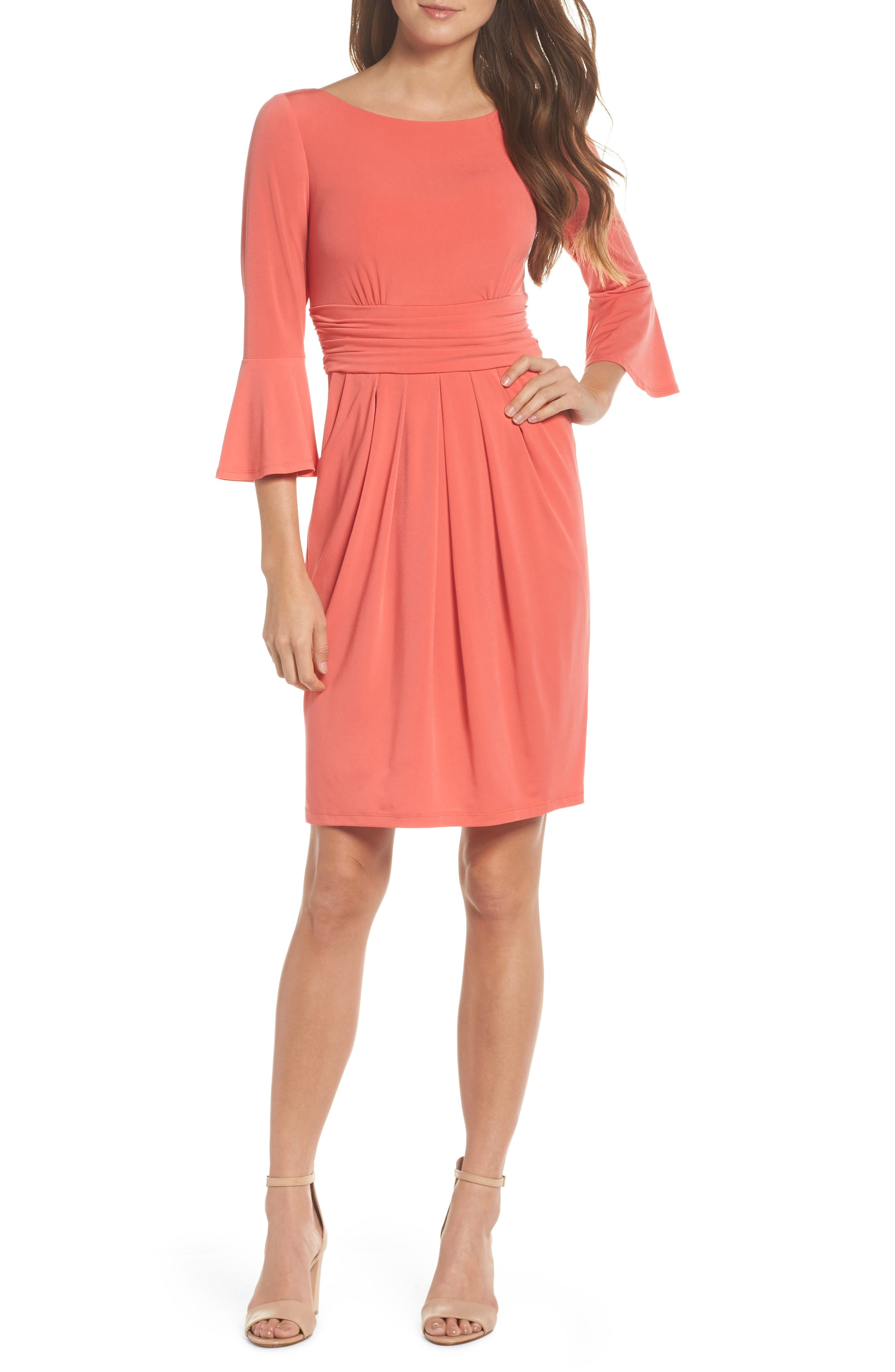 Flounce Sleeve Sheath Dress,                         Main,                         color, Red