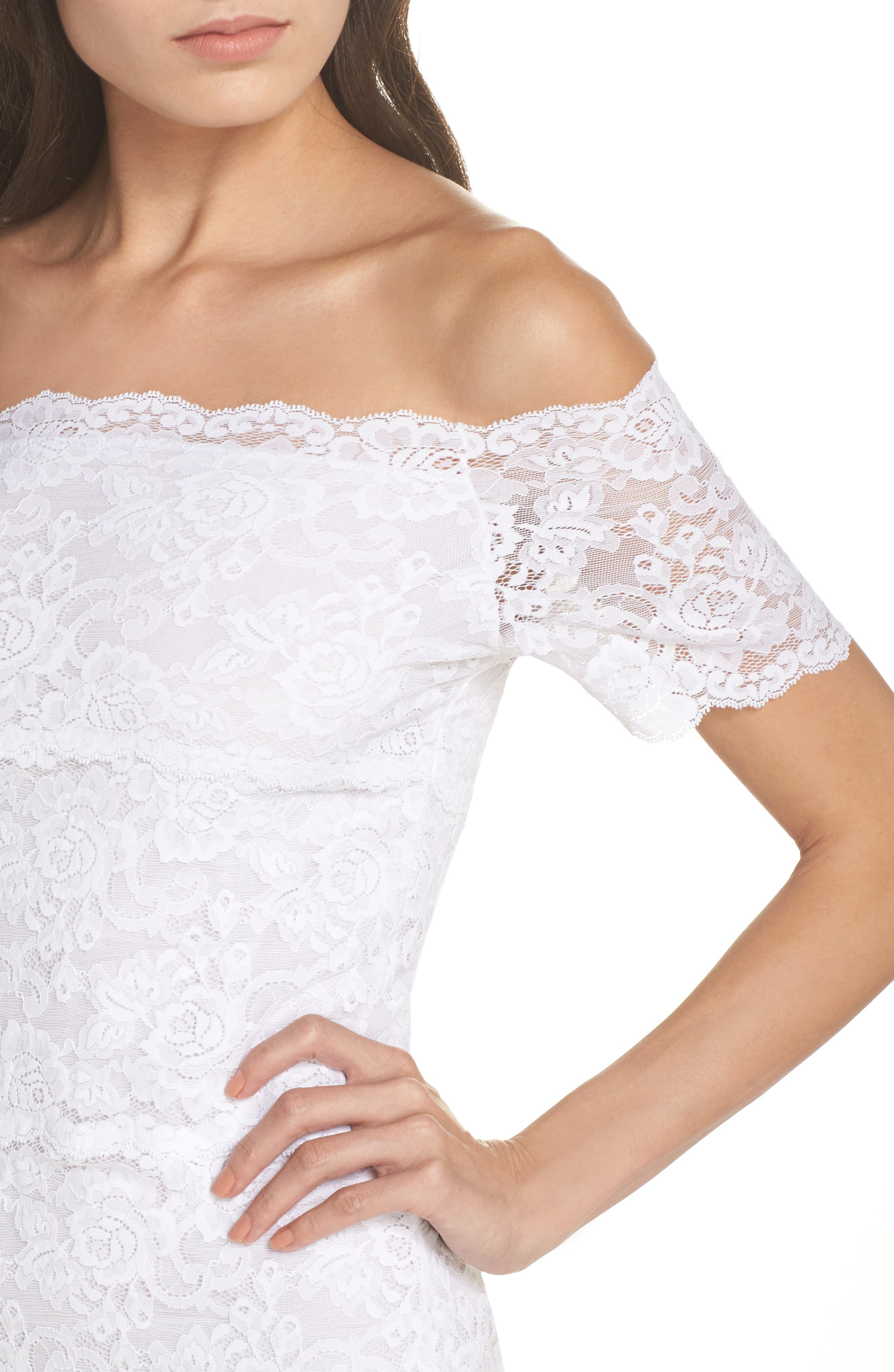 Evelyn Off the Shoulder Lace Top,                             Alternate thumbnail 5, color,                             White
