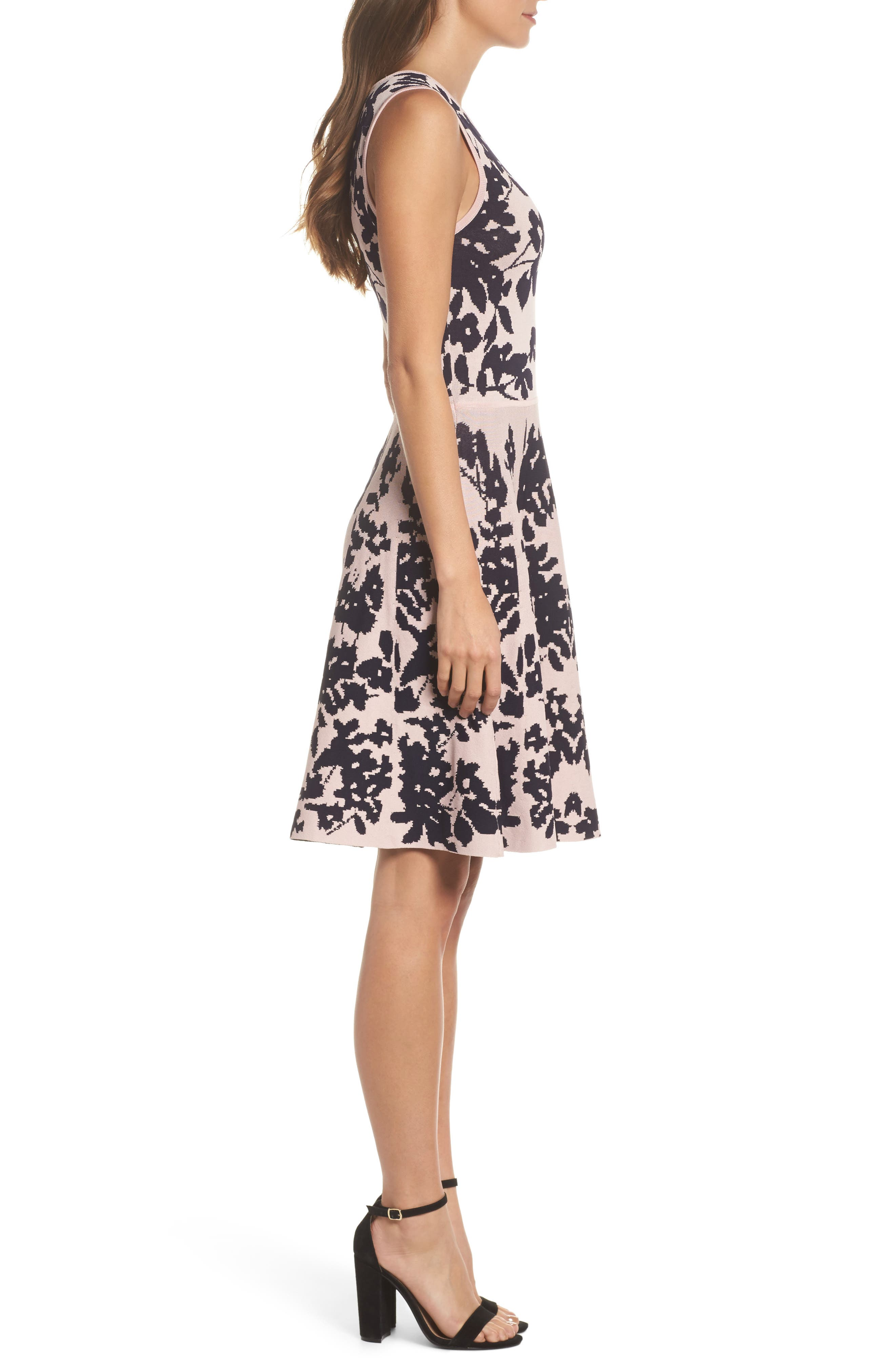 Fit & Flare Sweater Dress,                             Alternate thumbnail 3, color,                             Pink/ Navy
