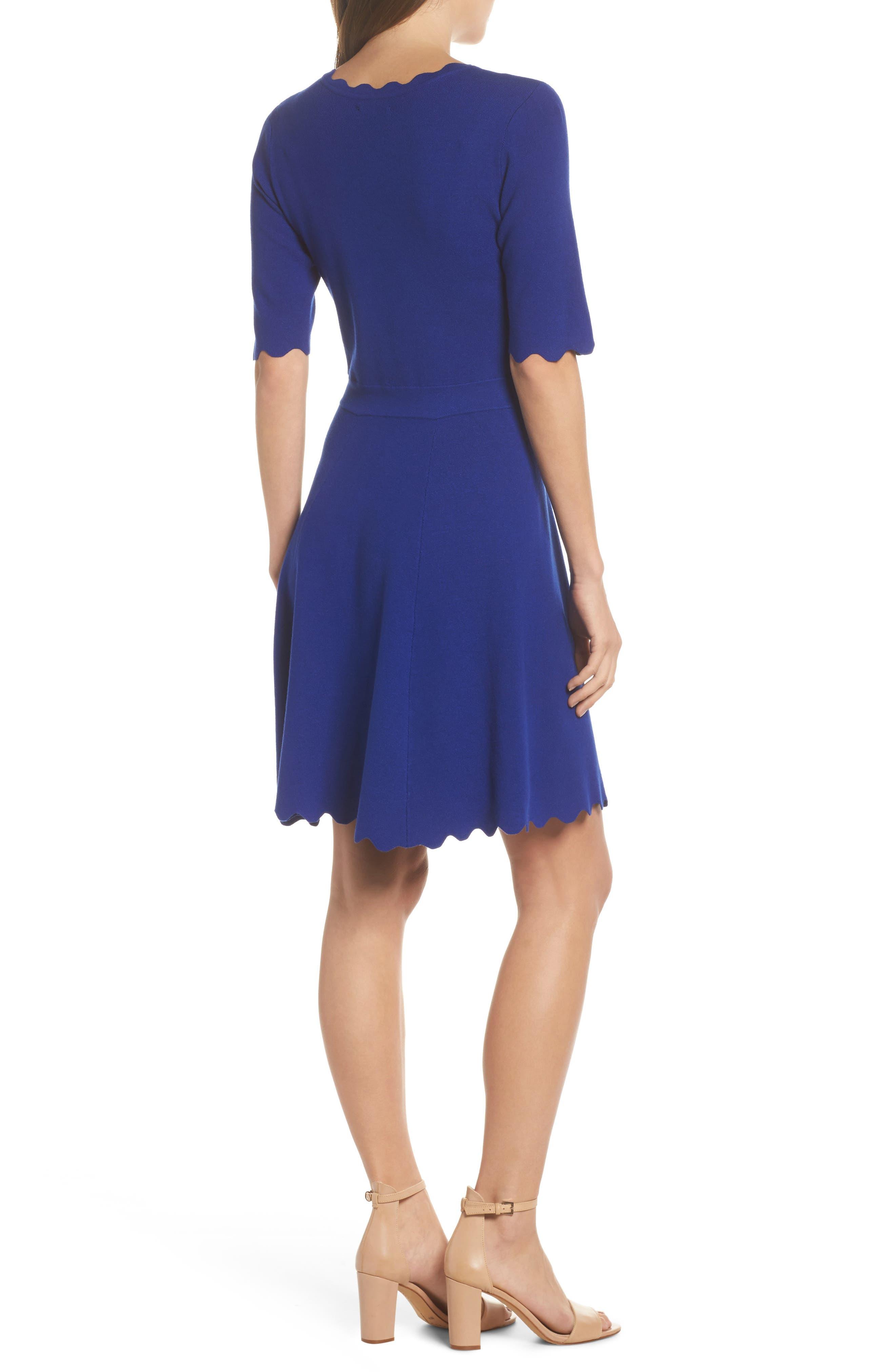 Alternate Image 2  - Eliza J Scallop Fit & Flare Dress