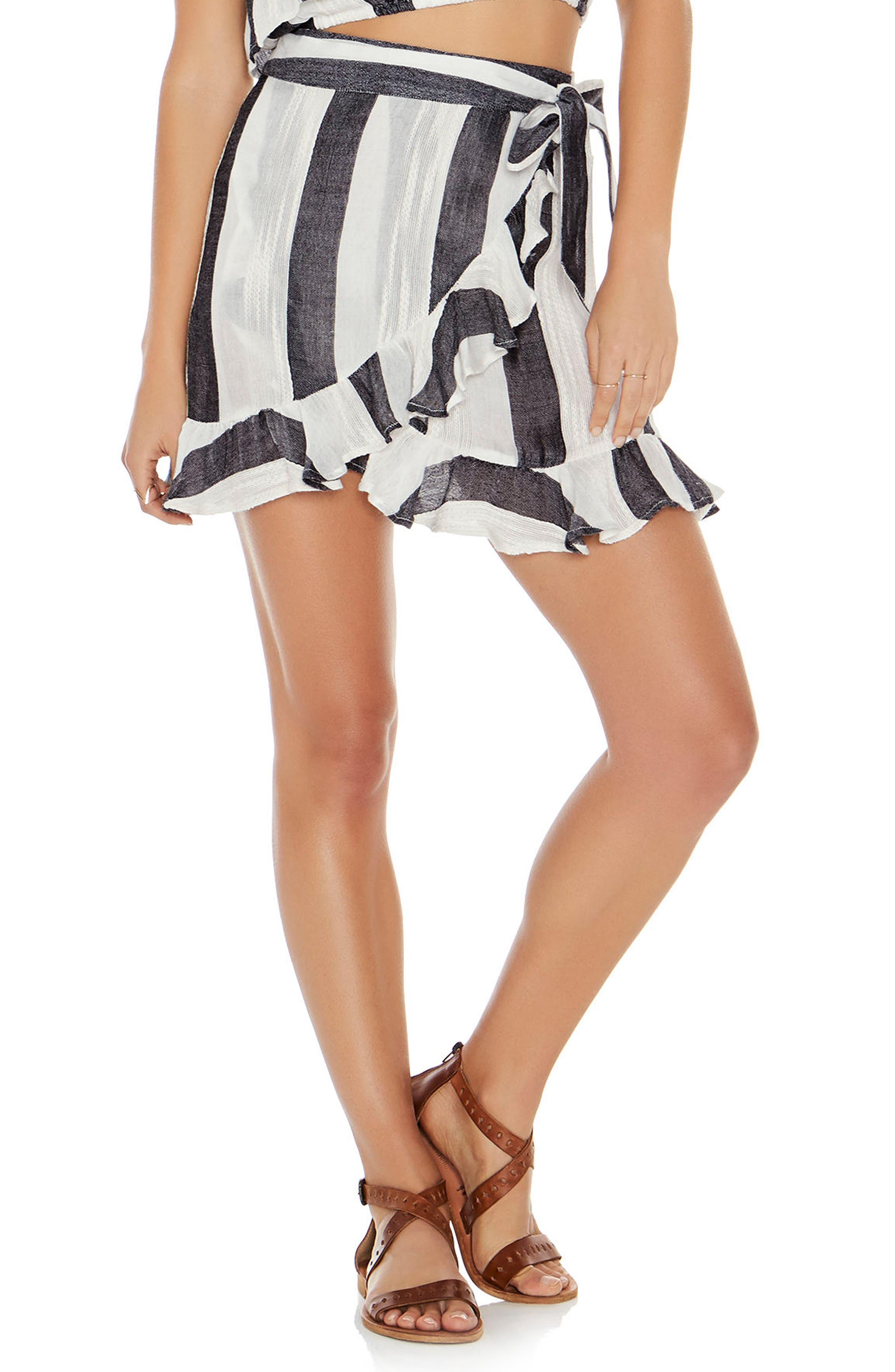 Lucia Wrap Skirt Cover-Up,                         Main,                         color, Beach Bum Stripe