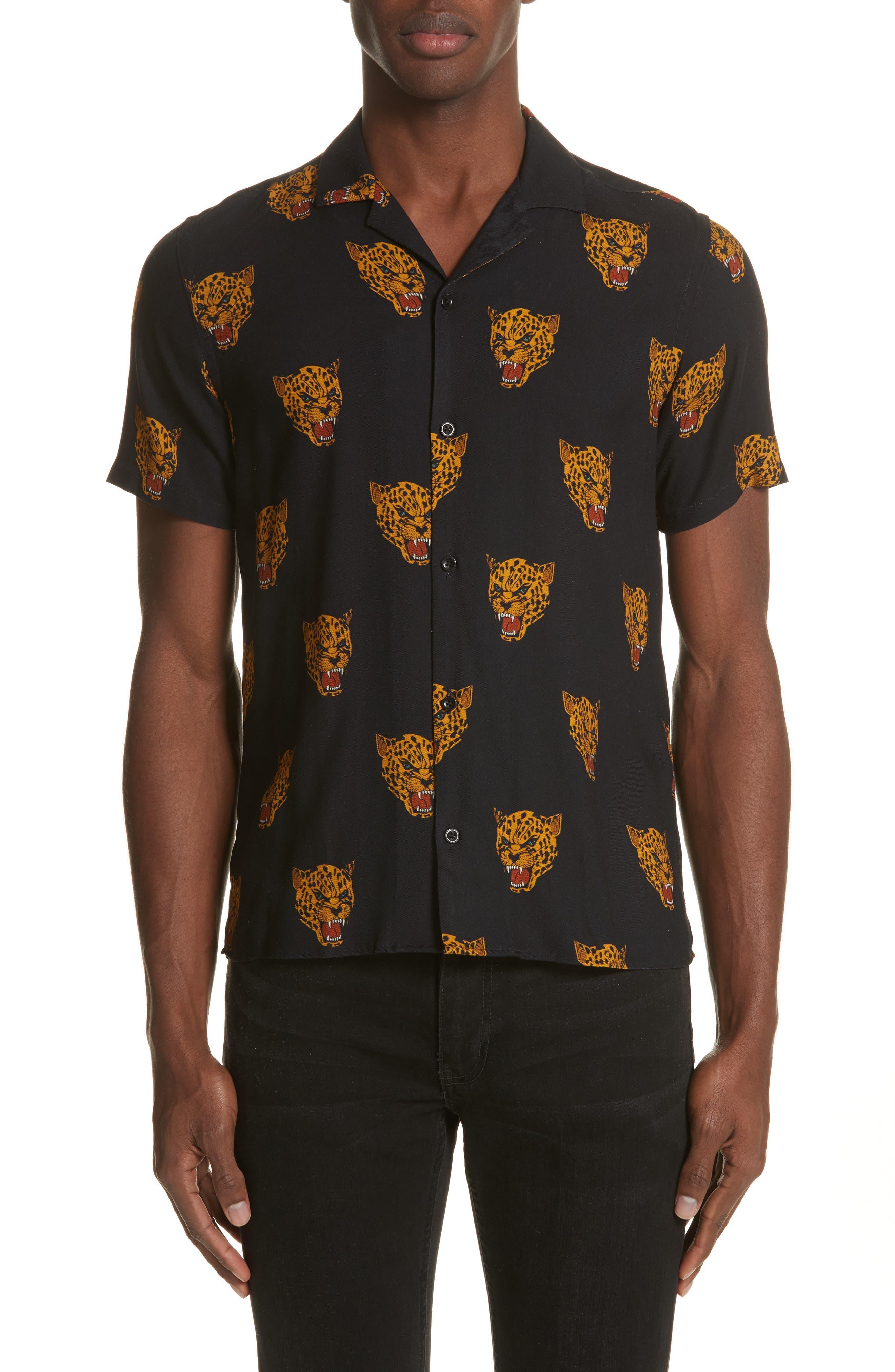 Tiger Print Camp Shirt,                         Main,                         color, Black