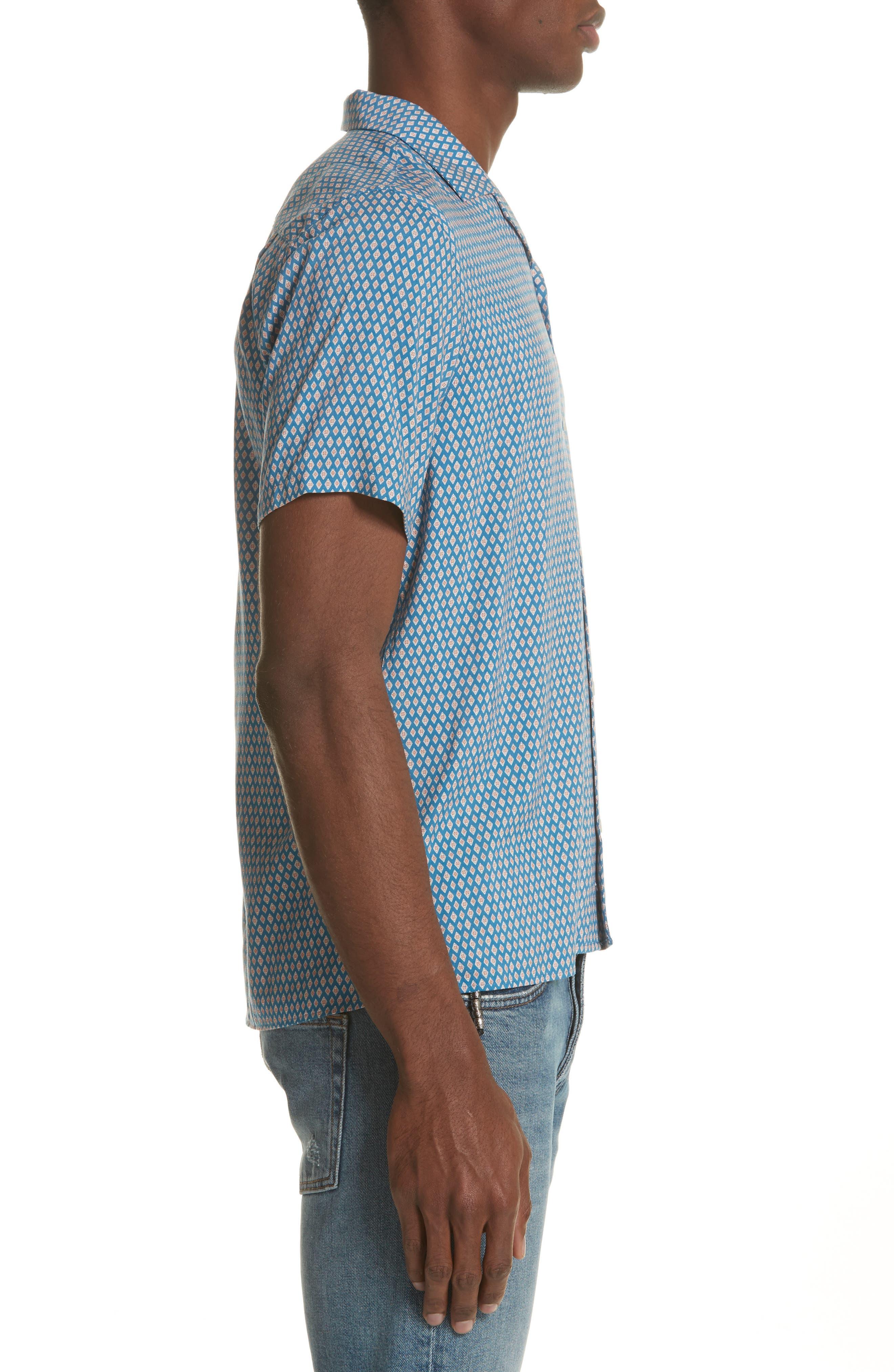 Diamond Print Camp Shirt,                             Alternate thumbnail 4, color,                             Blu 36