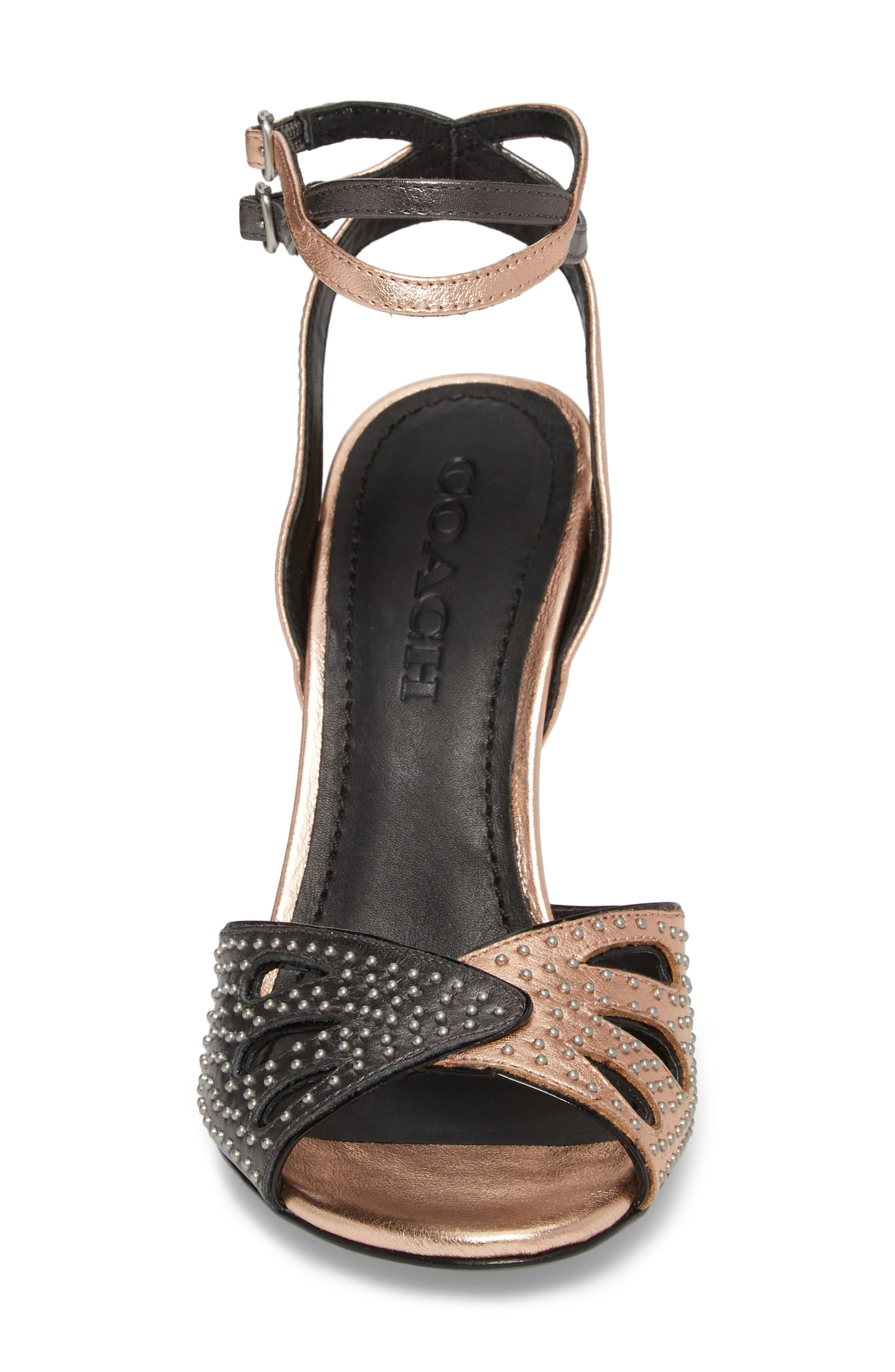 Prairie Rivet Sandal,                             Alternate thumbnail 4, color,                             Rose Gold/ Gunmetal