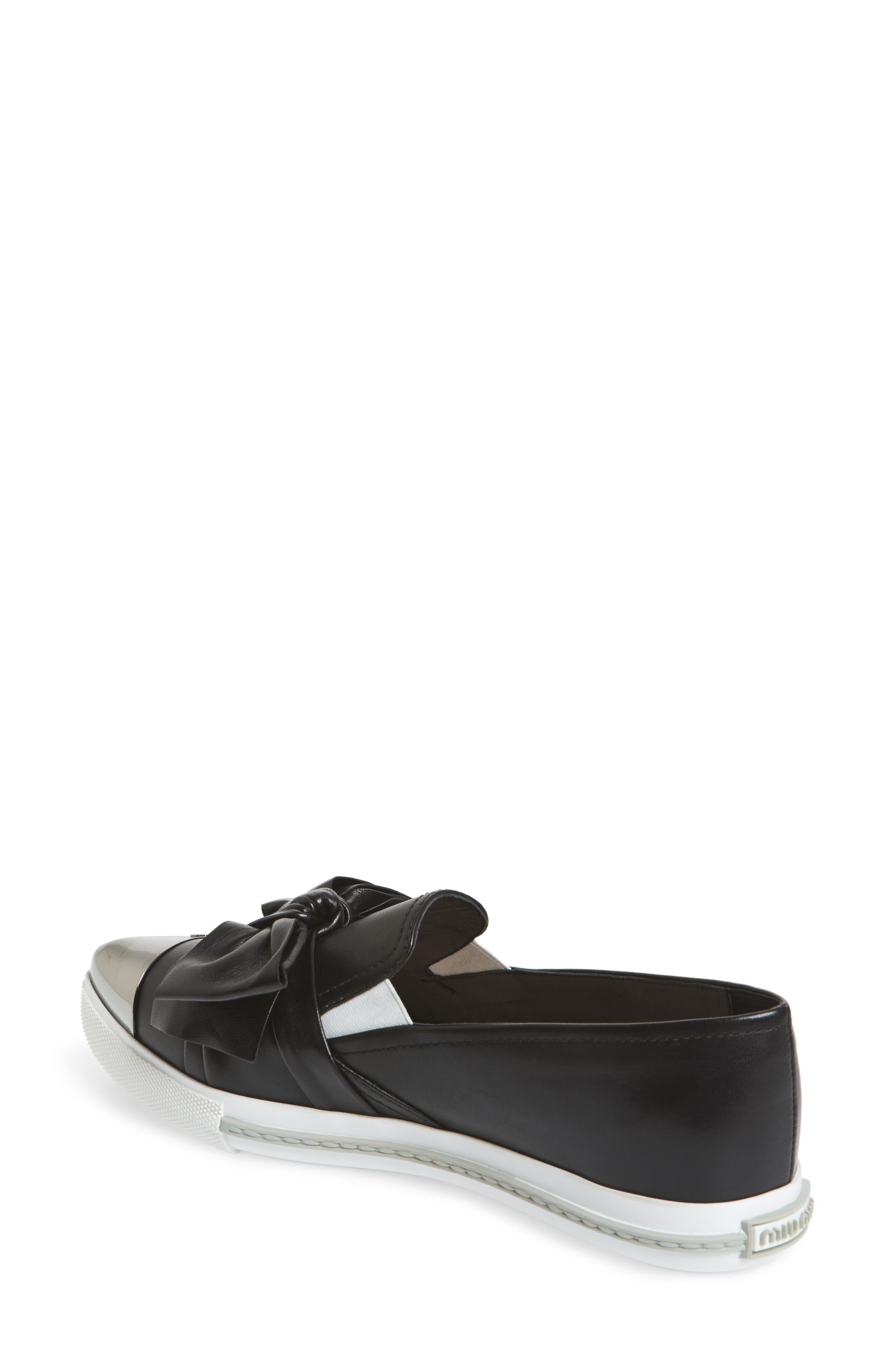 Cap Toe Hidden Wedge Sneaker,                             Alternate thumbnail 2, color,                             Black
