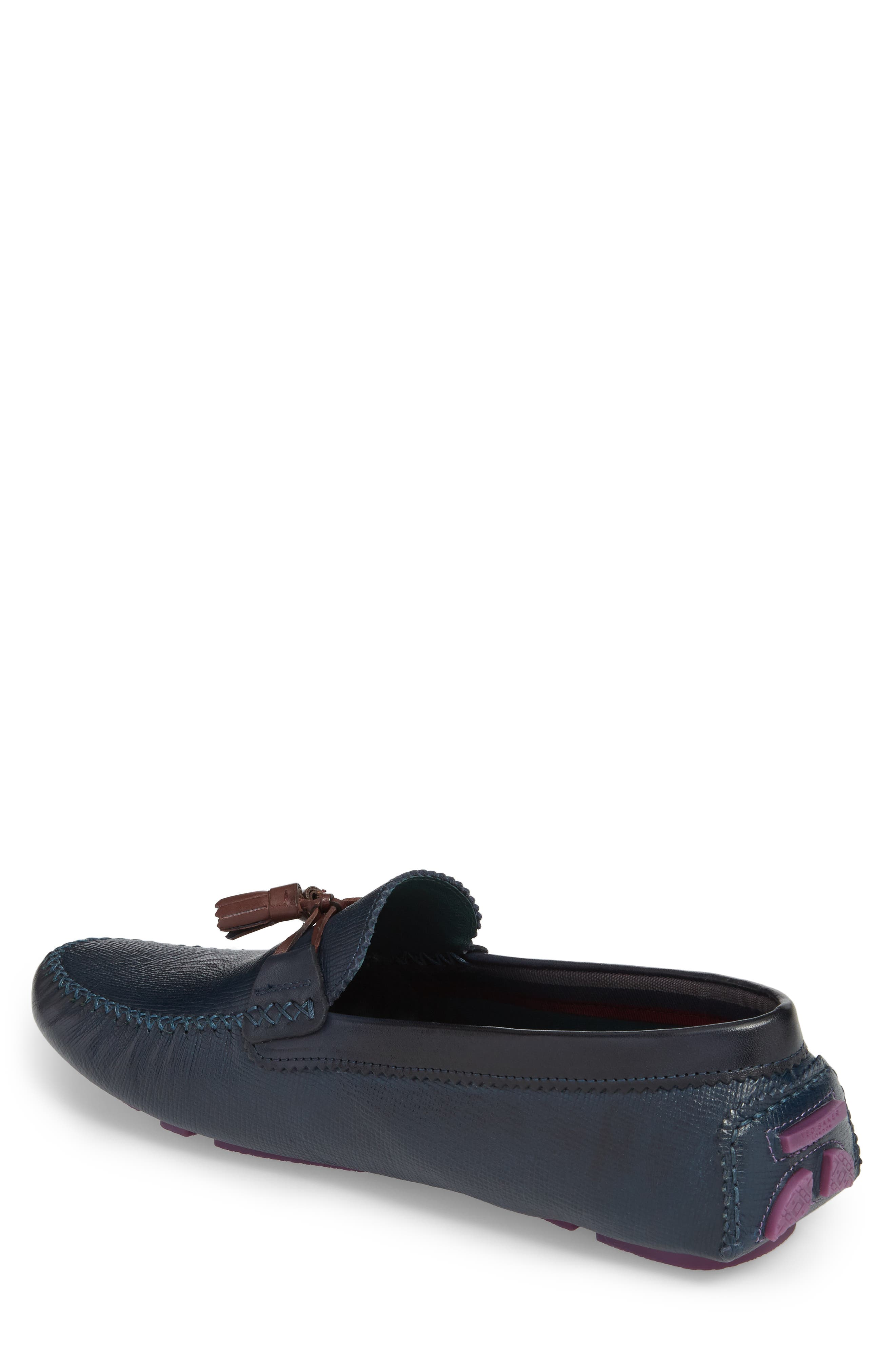 Urbonn Tasseled Driving Loafer,                             Alternate thumbnail 2, color,                             Dark Blue Leather