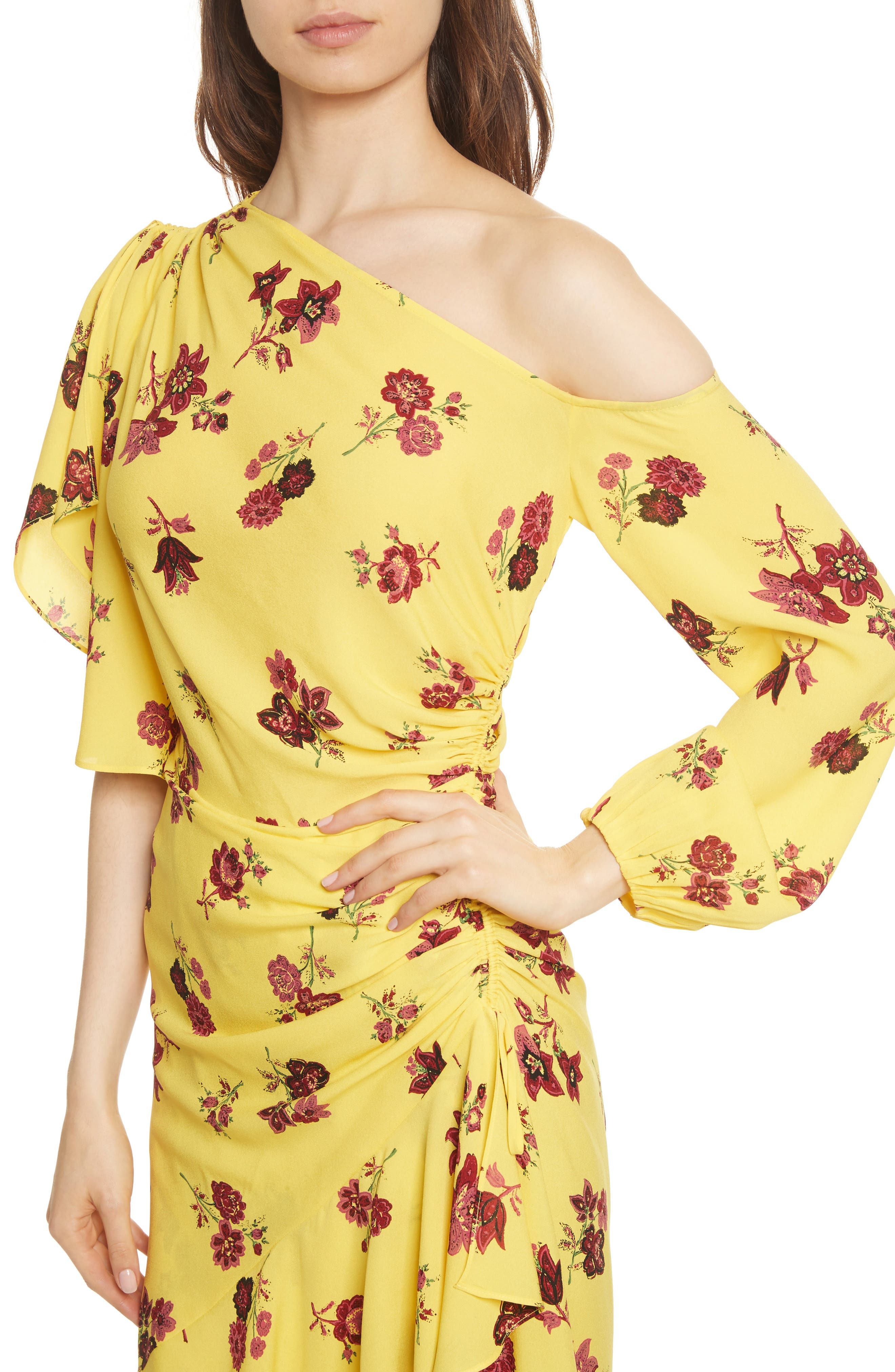 Florence One-Shoulder Silk Dress,                             Alternate thumbnail 5, color,                             Yellow