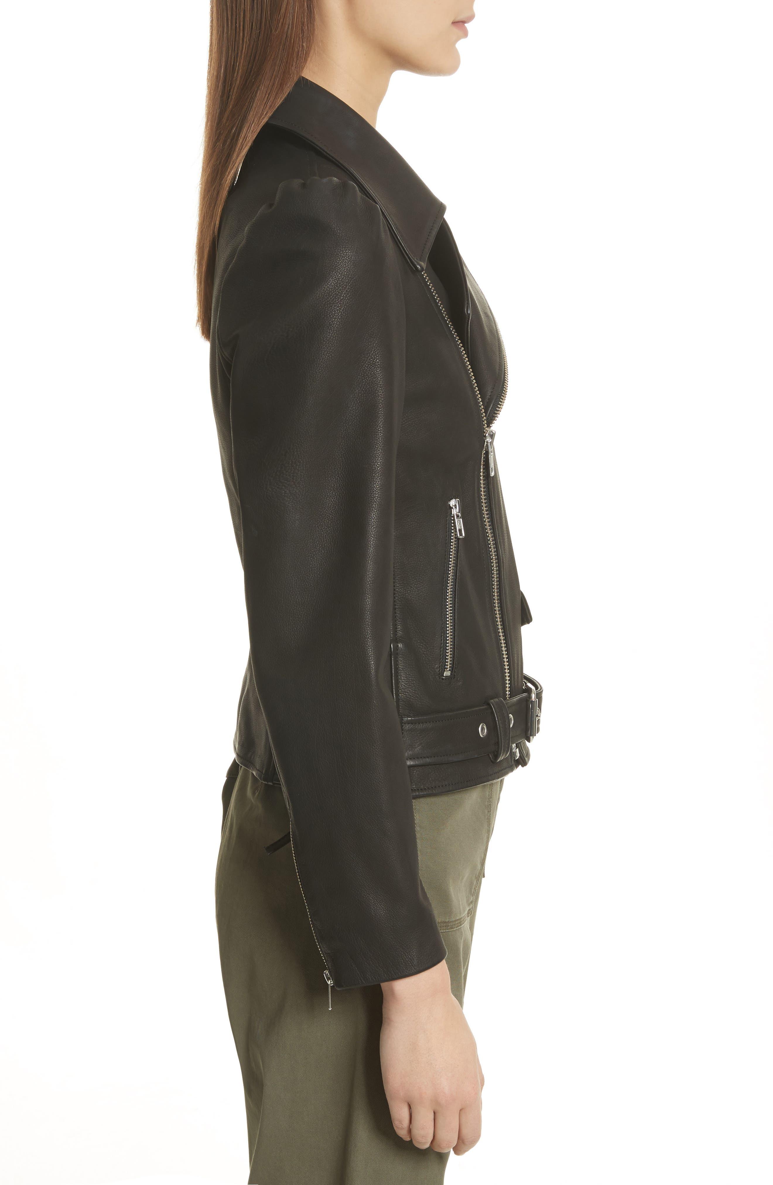 Calix Puff Shoulder Leather Moto Jacket,                             Alternate thumbnail 3, color,                             Black