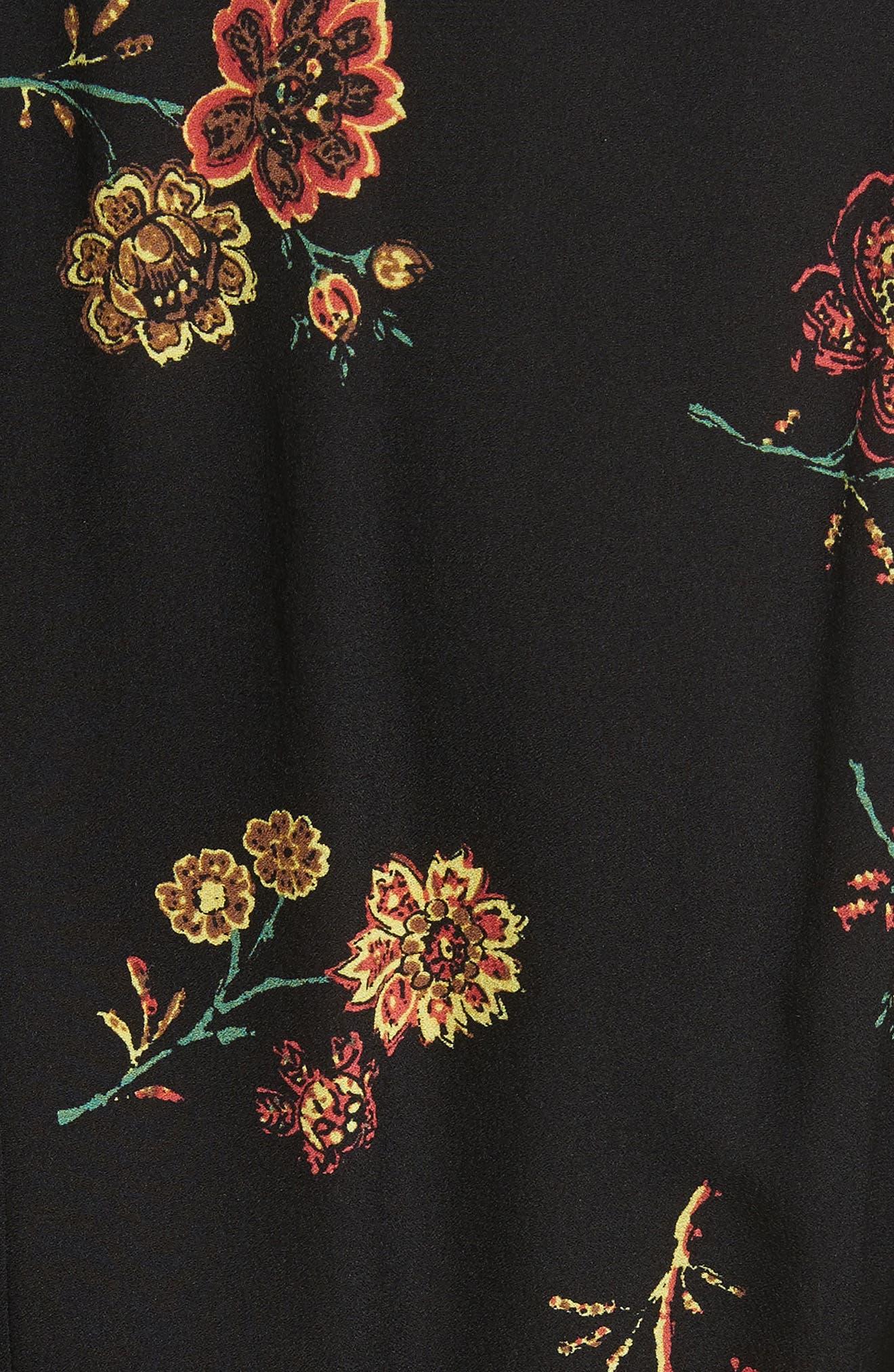 Wilma Silk Wrap Dress,                             Alternate thumbnail 5, color,                             Black