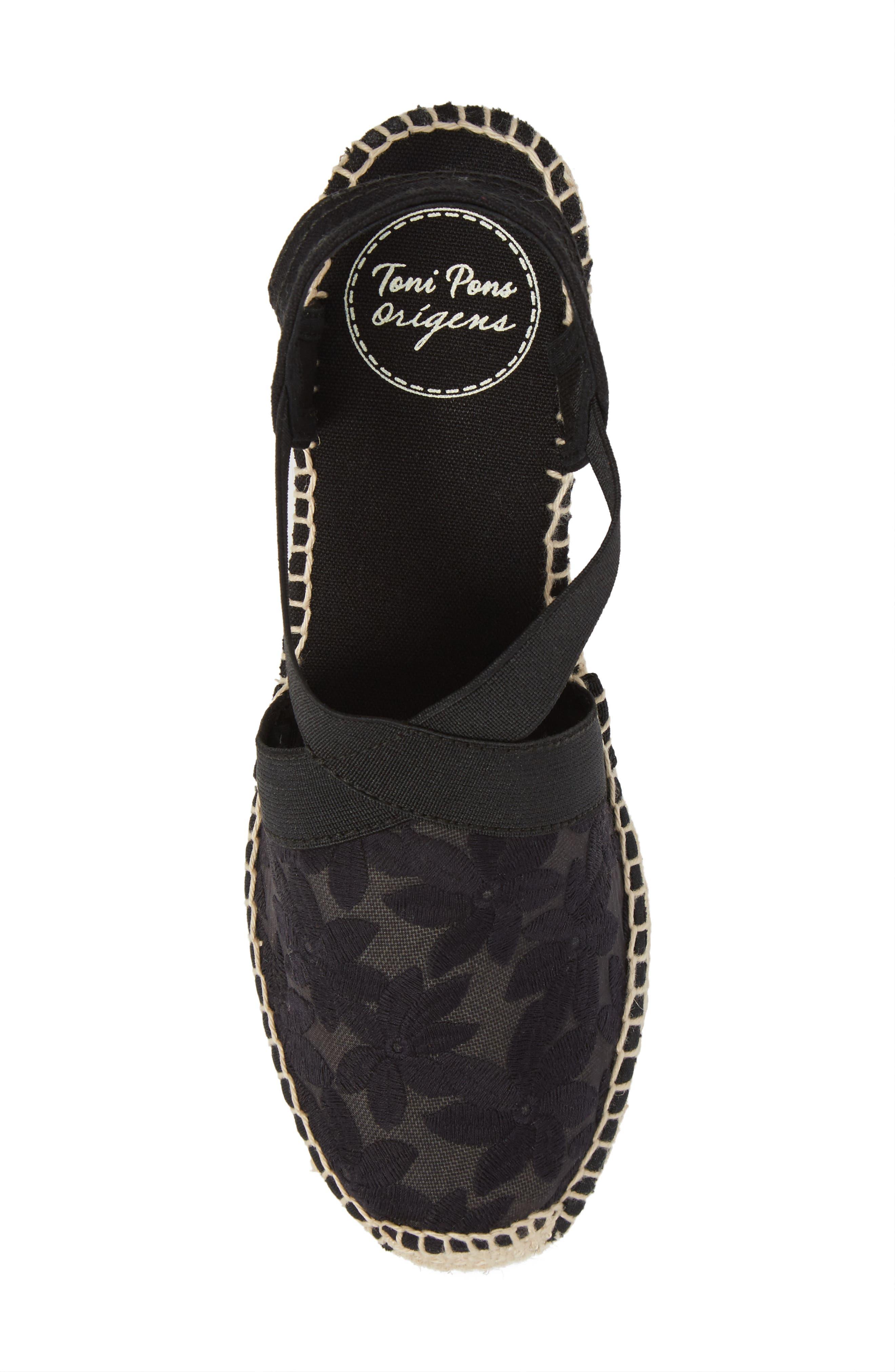 Terra Espadrille Wedge Sandal,                             Alternate thumbnail 5, color,                             Black Fabric