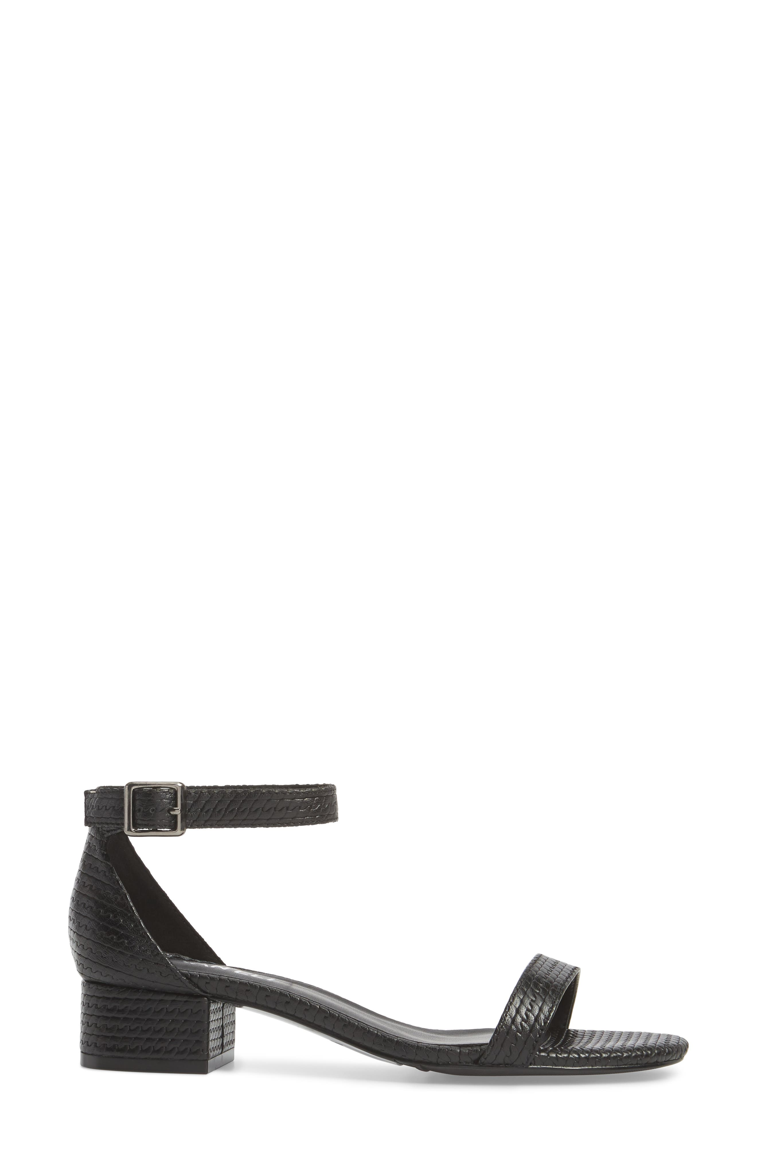 Hirin Sandal,                             Alternate thumbnail 3, color,                             Black Printed Leather
