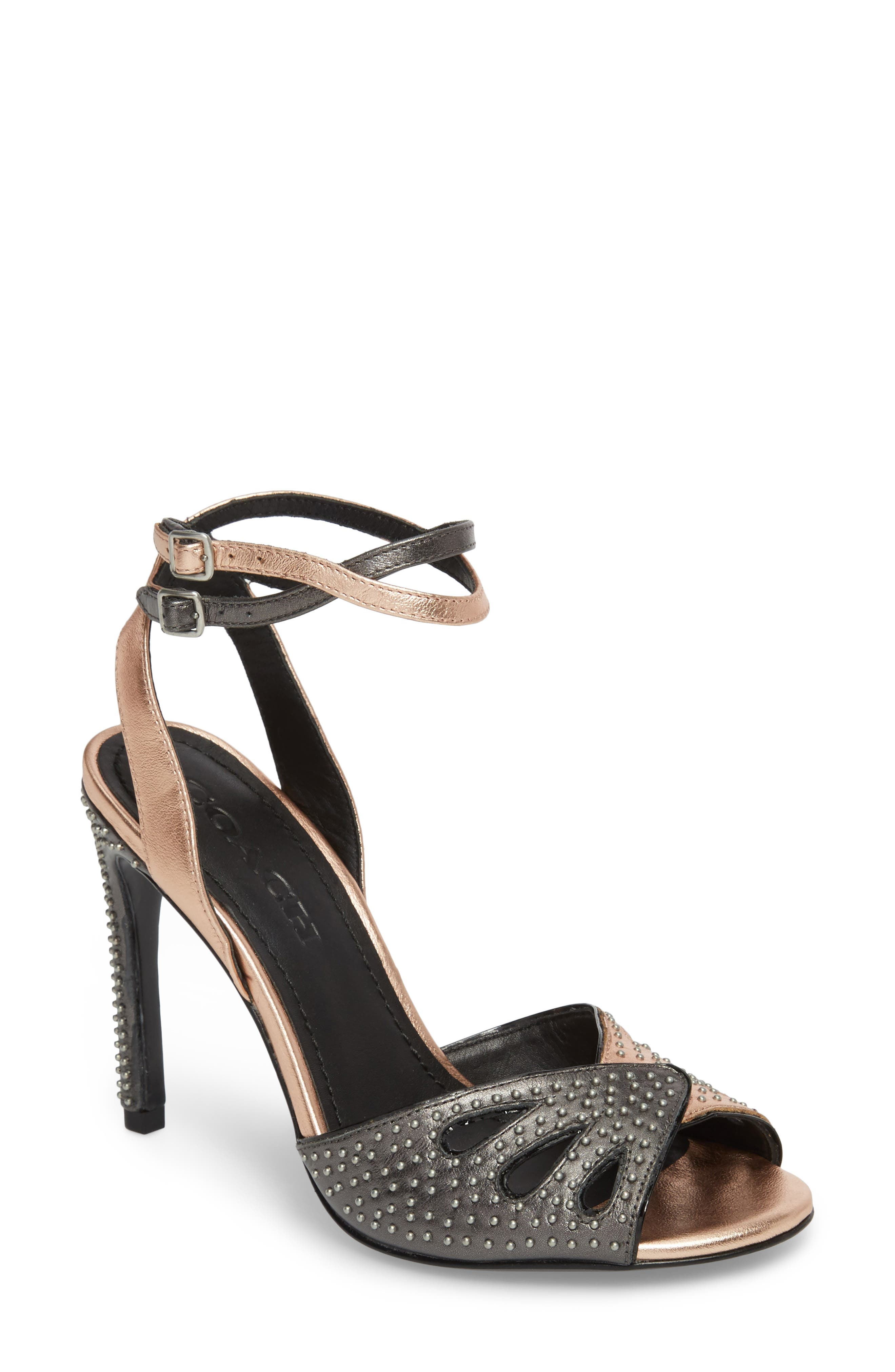 Prairie Rivet Sandal,                             Main thumbnail 1, color,                             Rose Gold/ Gunmetal