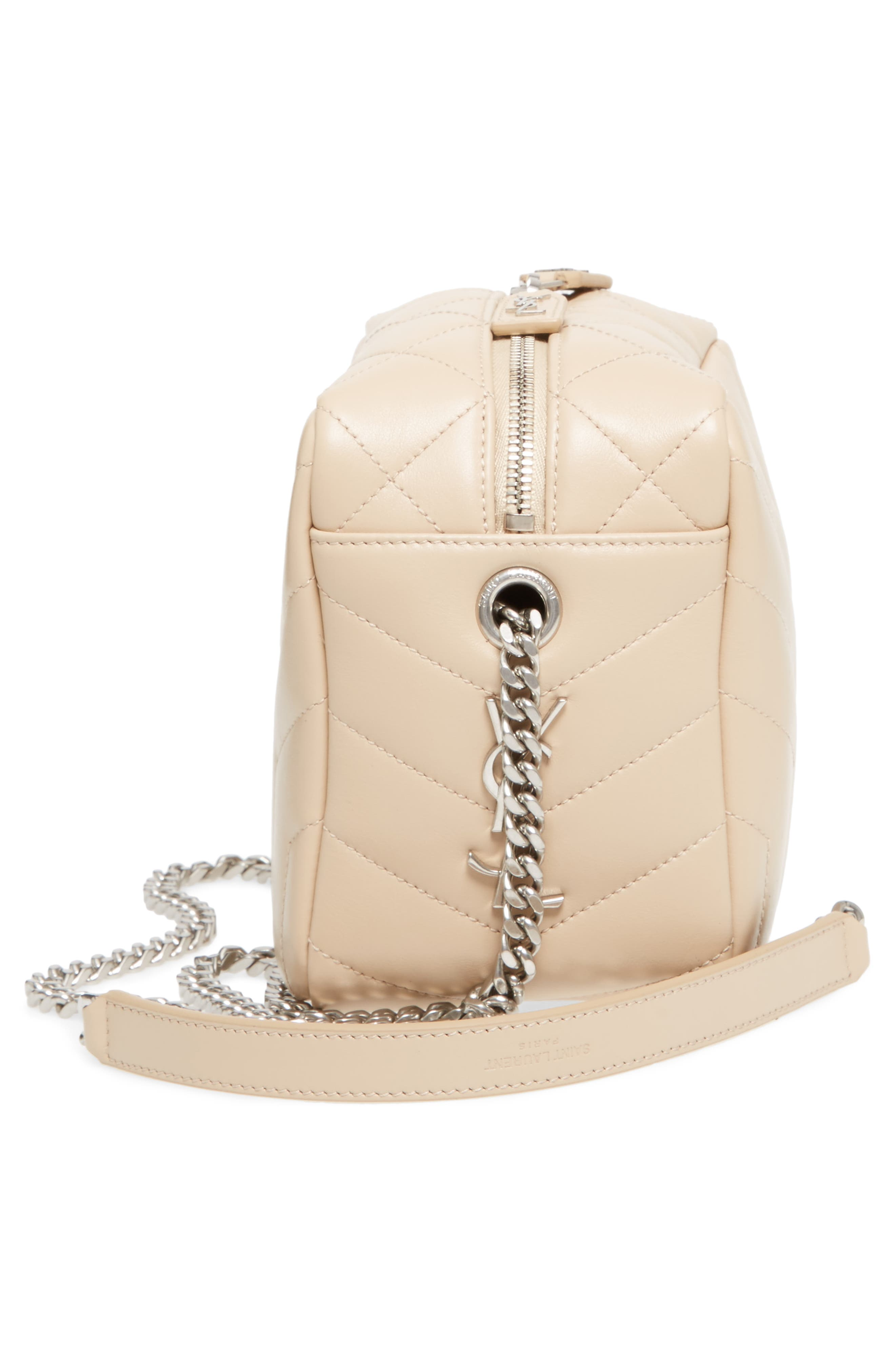 Small Loulou Leather Bowling Bag,                             Alternate thumbnail 5, color,                             Poudre
