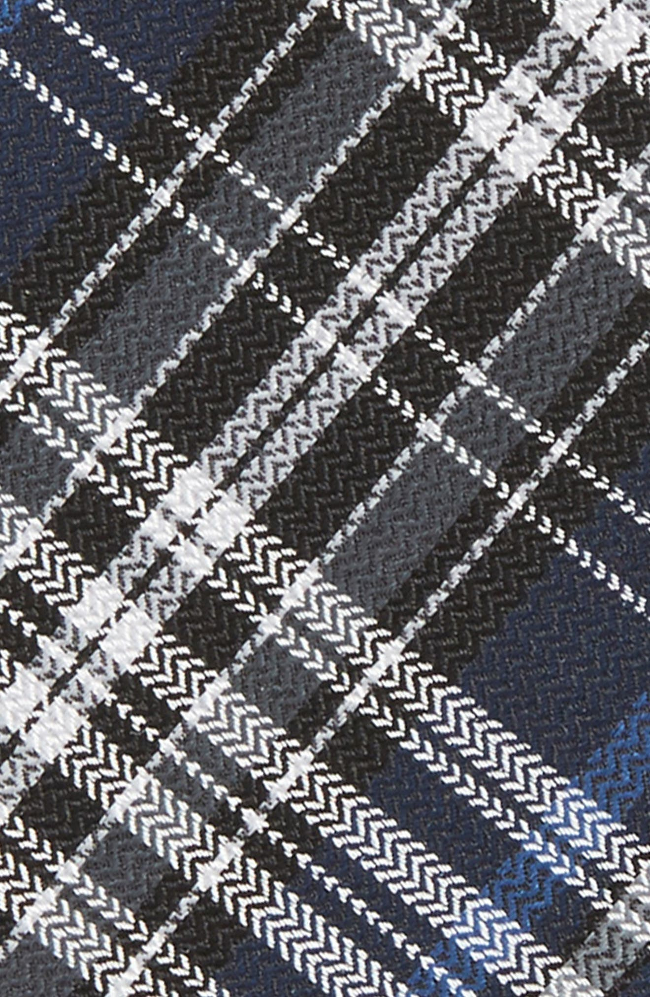 Motley Plaid Silk Bow Tie,                             Alternate thumbnail 3, color,                             Navy