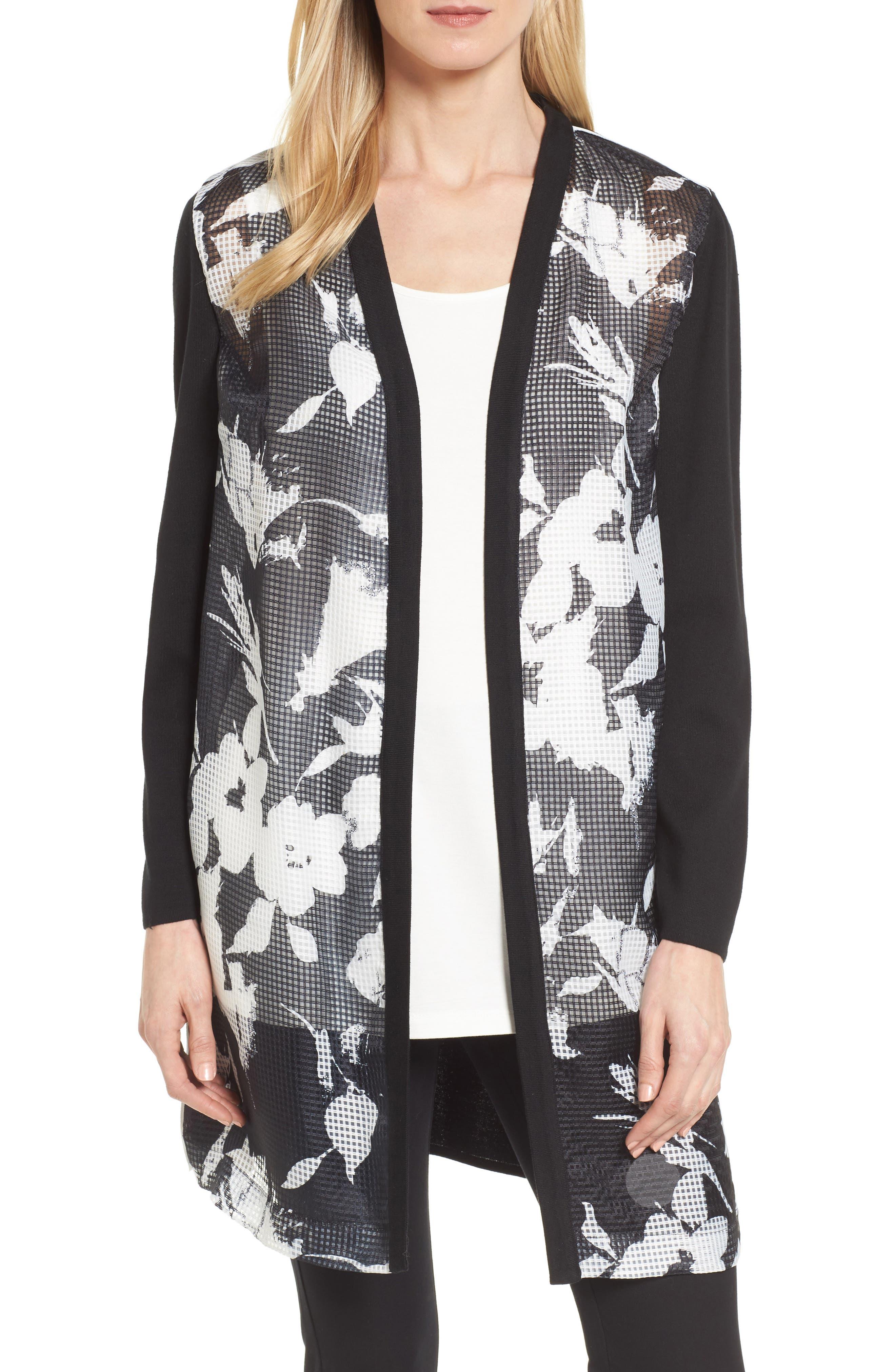Main Image - Ming Wang Open Front Floral Jacket