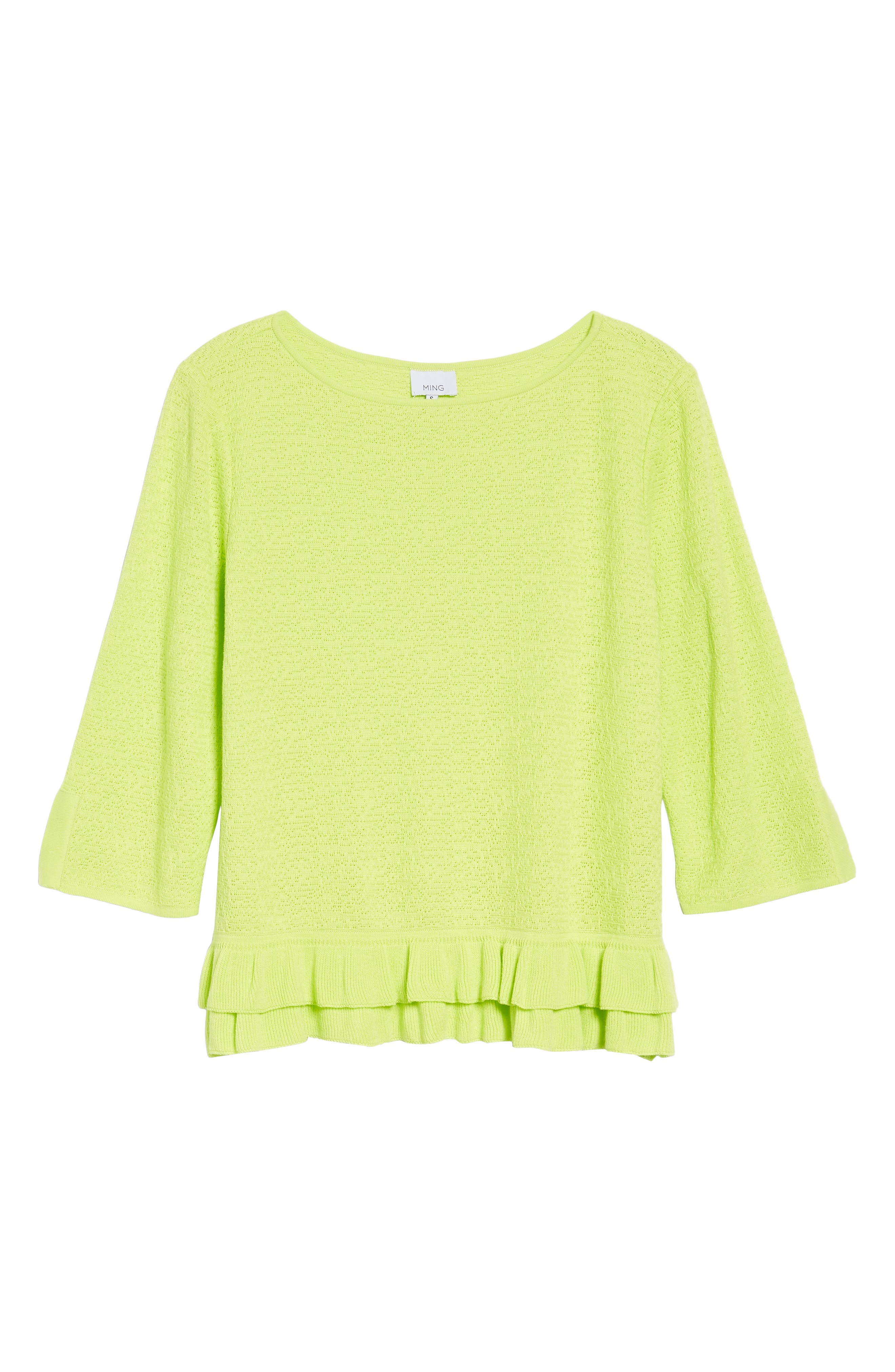 Button Detail Ruffle Sweater,                             Alternate thumbnail 6, color,                             Pear