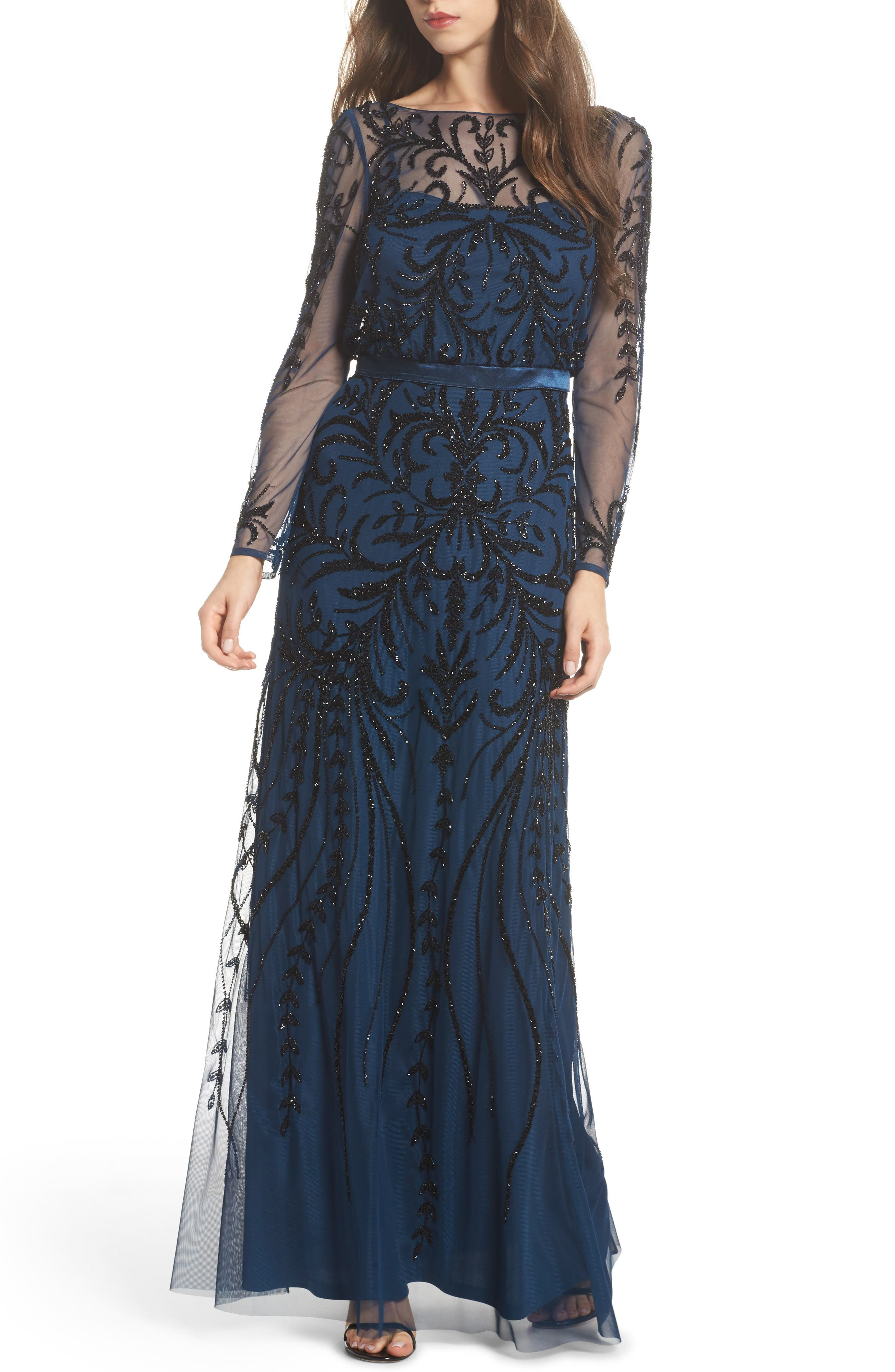 Embellished Long Sleeve Gown,                             Main thumbnail 1, color,                             Deep Blue