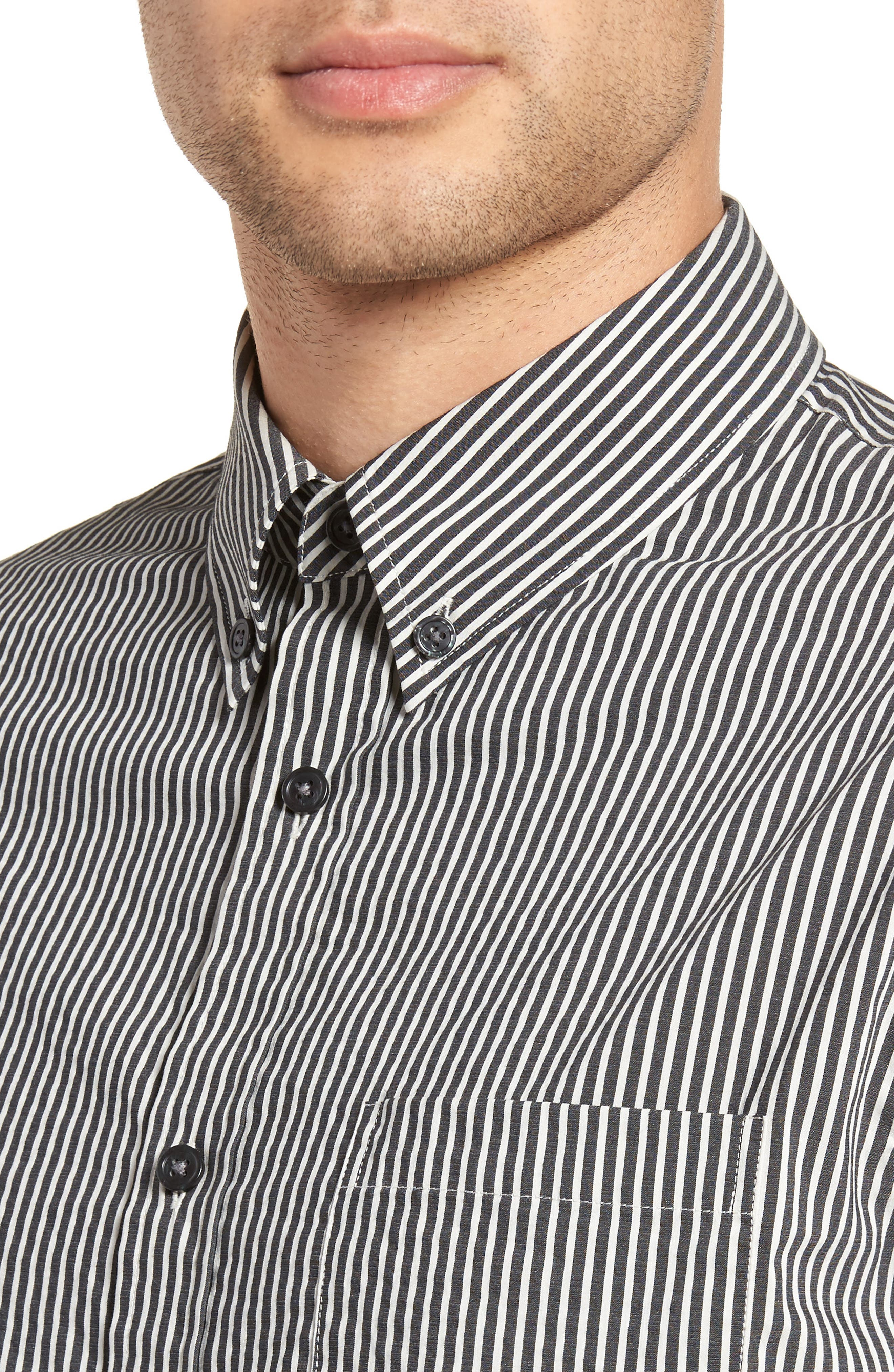 Bar Stripe Sport Shirt,                             Alternate thumbnail 4, color,                             Black/ Stormy White