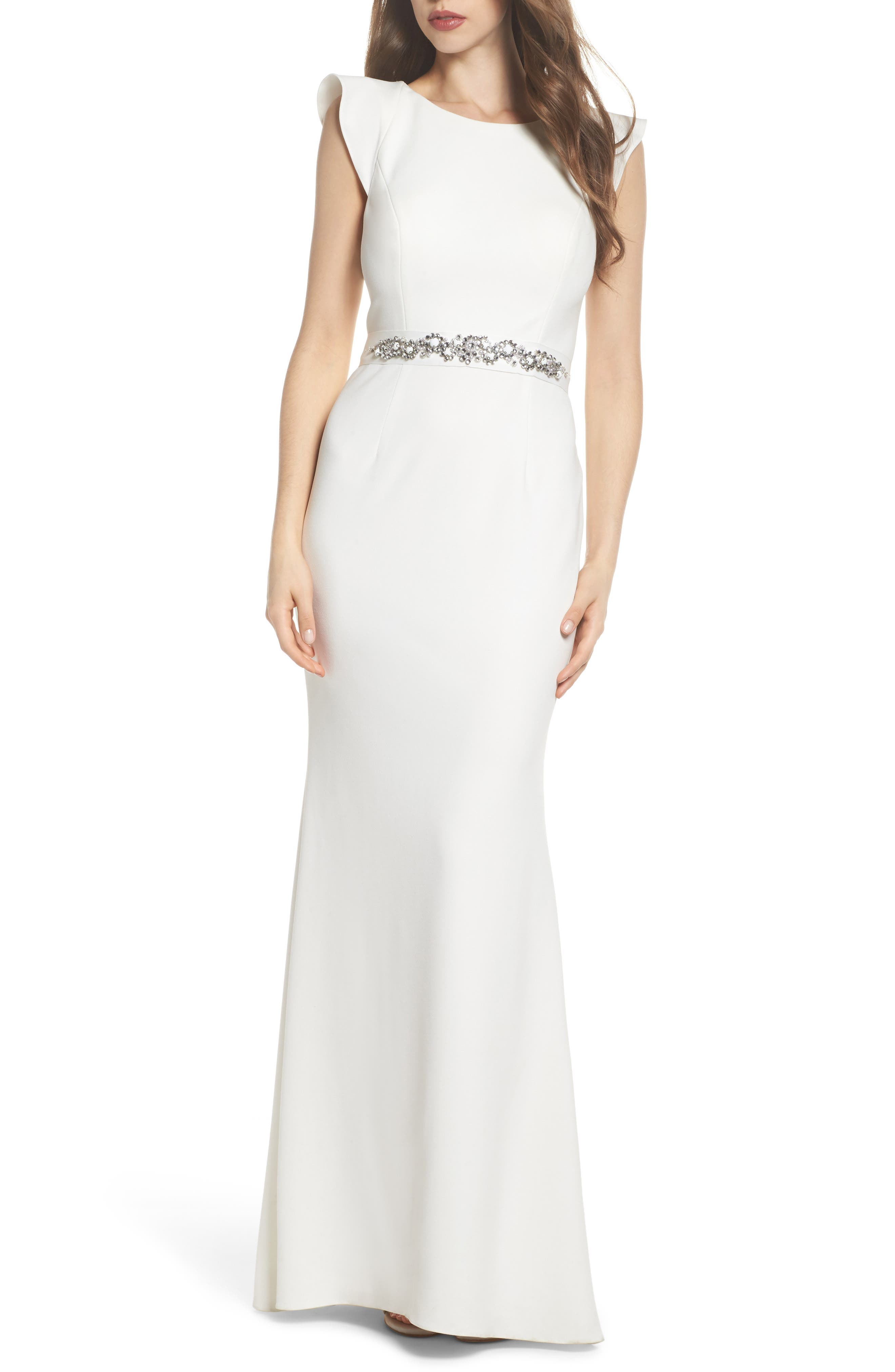 Adrianna Papell Ruffle Back Belted Gown
