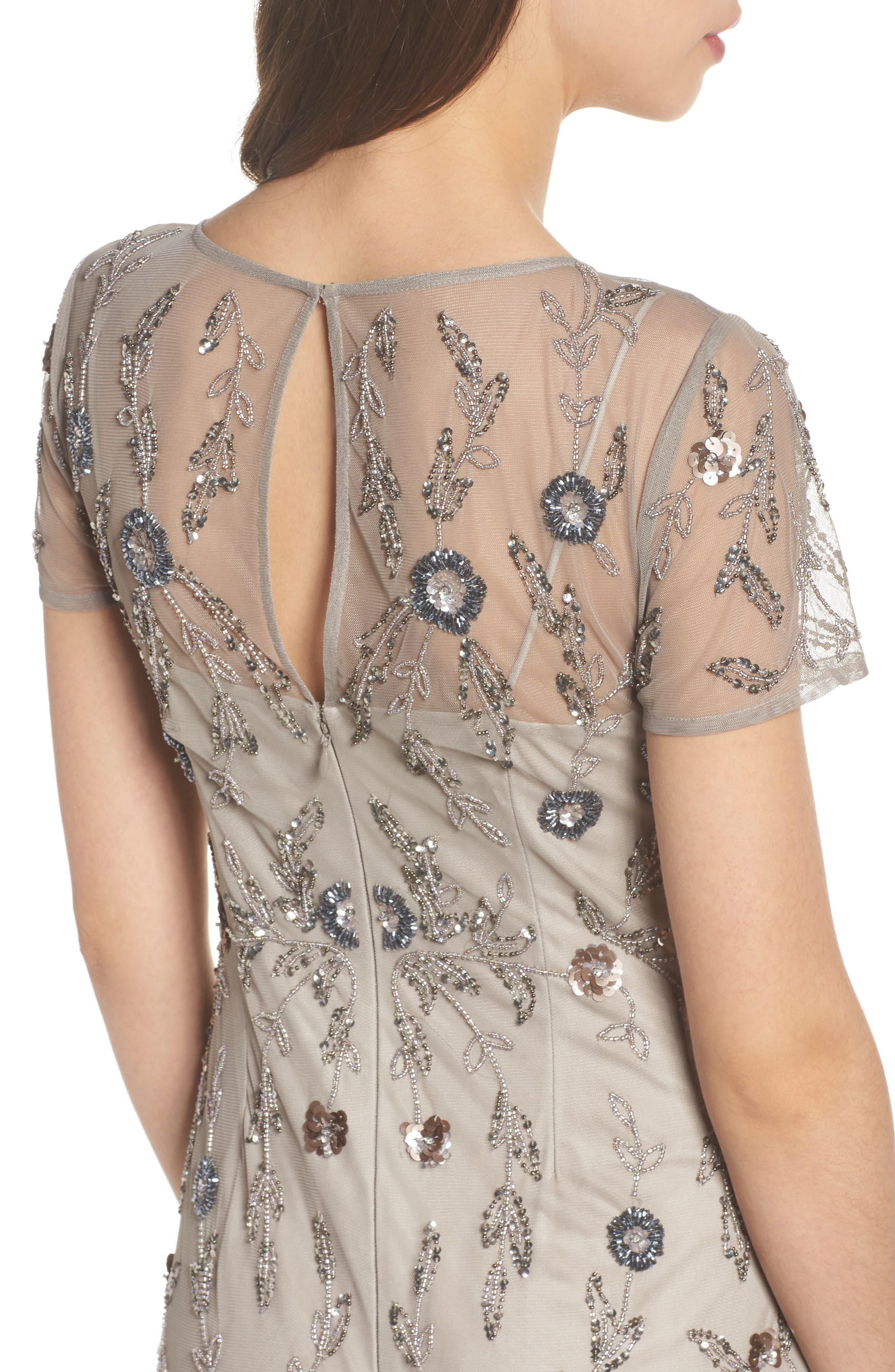 Floral Beaded Gown,                             Alternate thumbnail 4, color,                             Platinum
