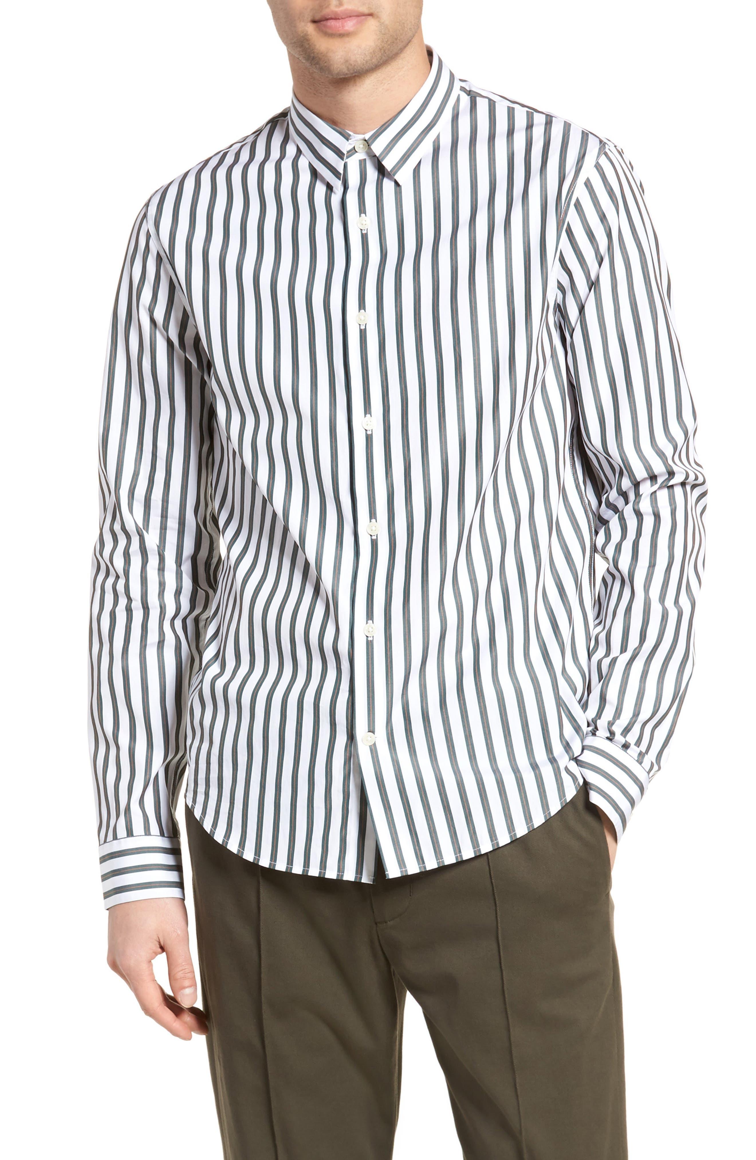 Stripe Sport Shirt,                             Main thumbnail 1, color,                             White/ Pine Grove
