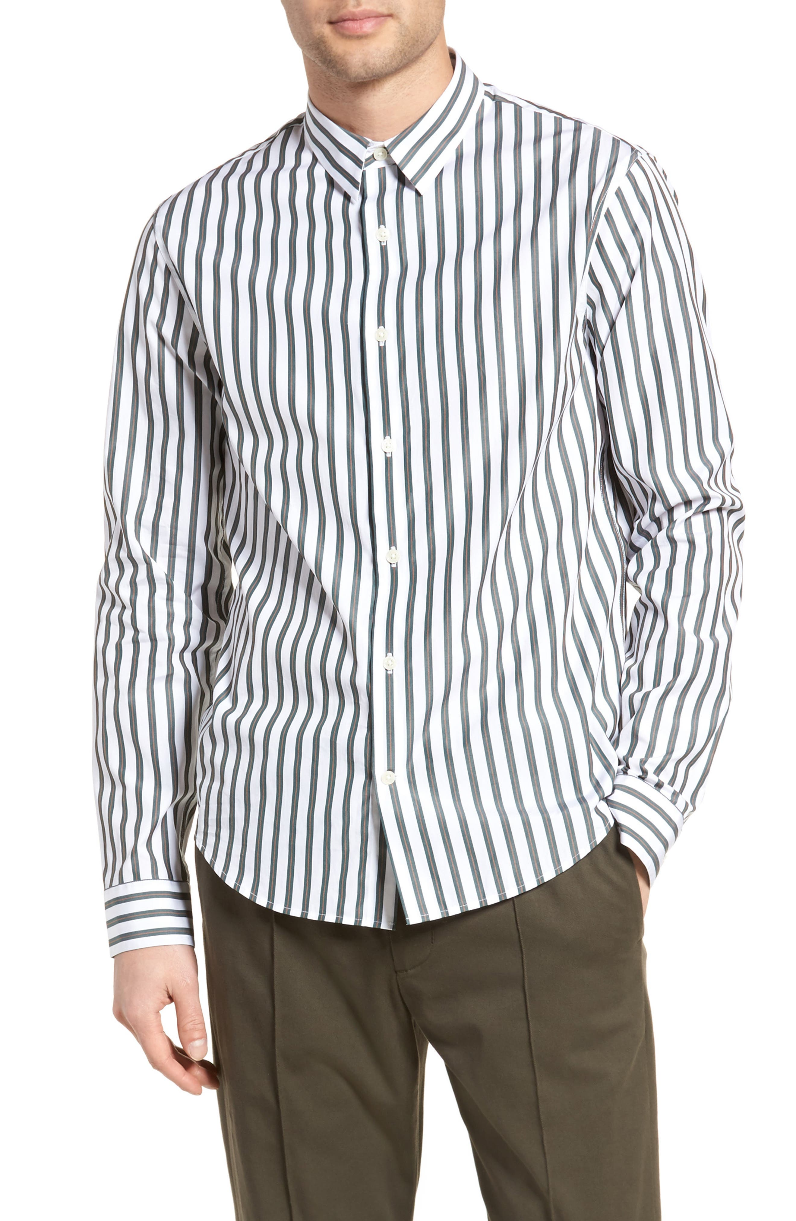 Stripe Sport Shirt,                         Main,                         color, White/ Pine Grove