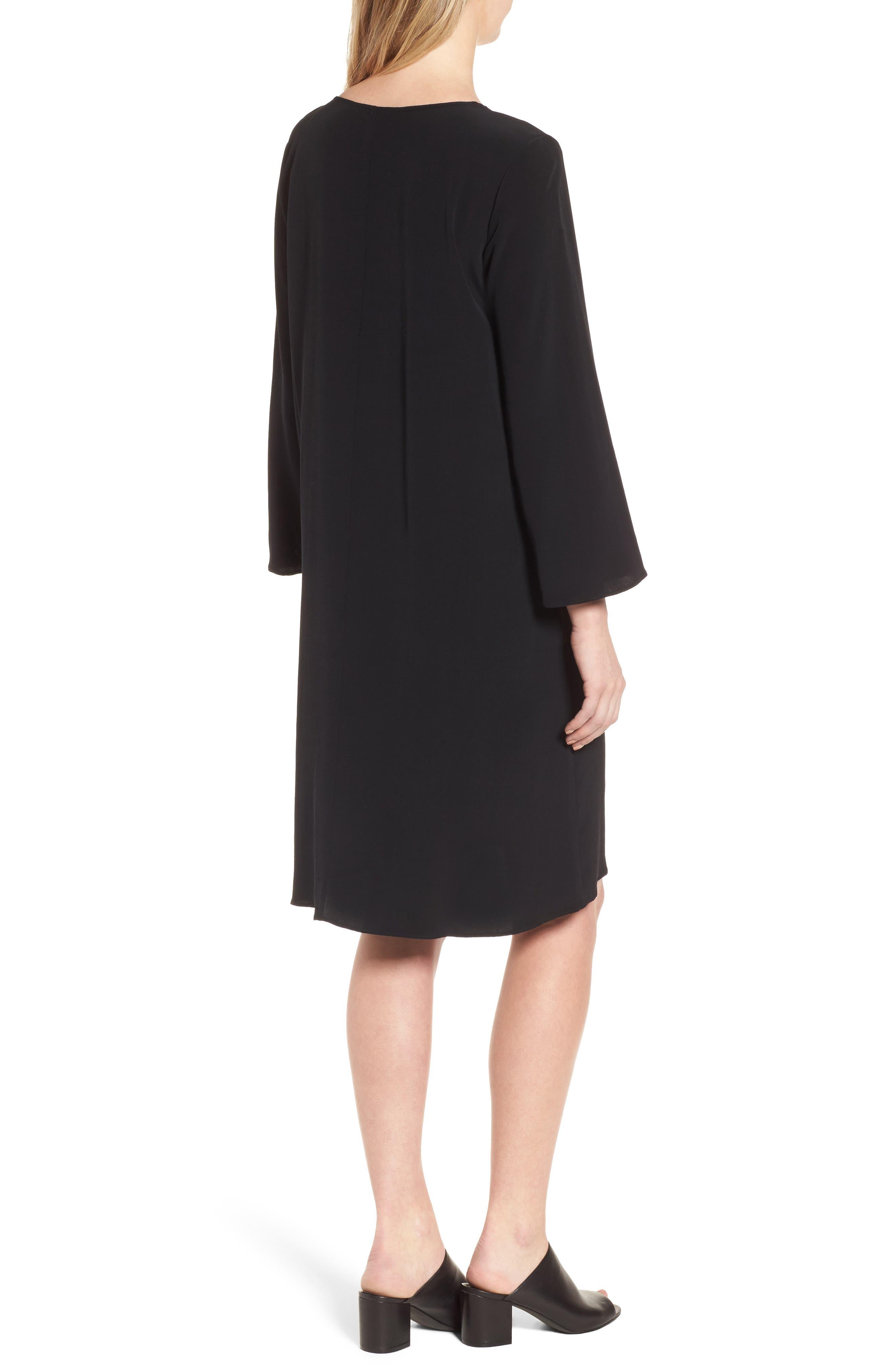 V-Neck Shift Dress,                             Alternate thumbnail 2, color,                             Black