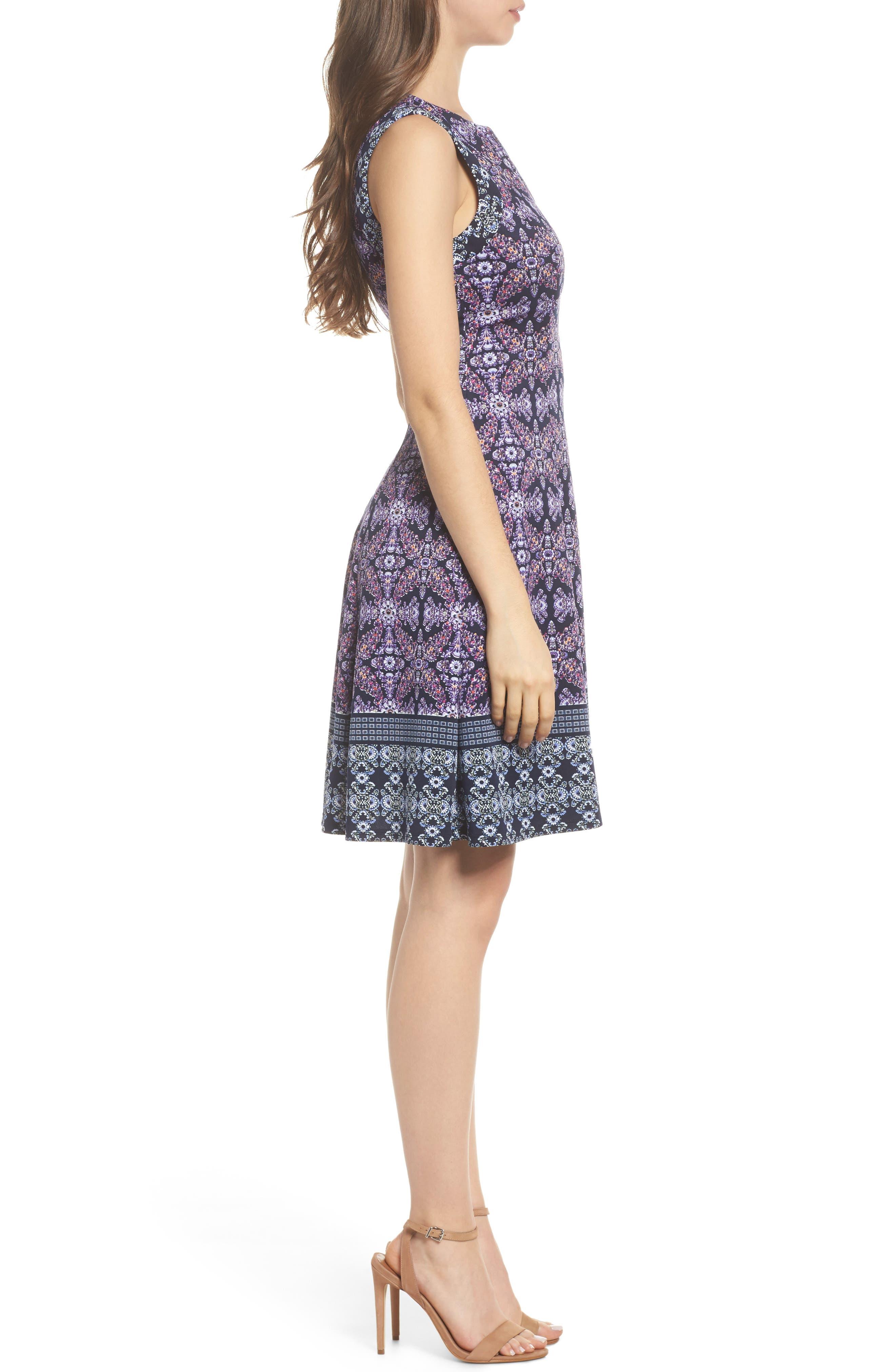 Scuba Fit & Flare Dress,                             Alternate thumbnail 3, color,                             Navy/ Lavender