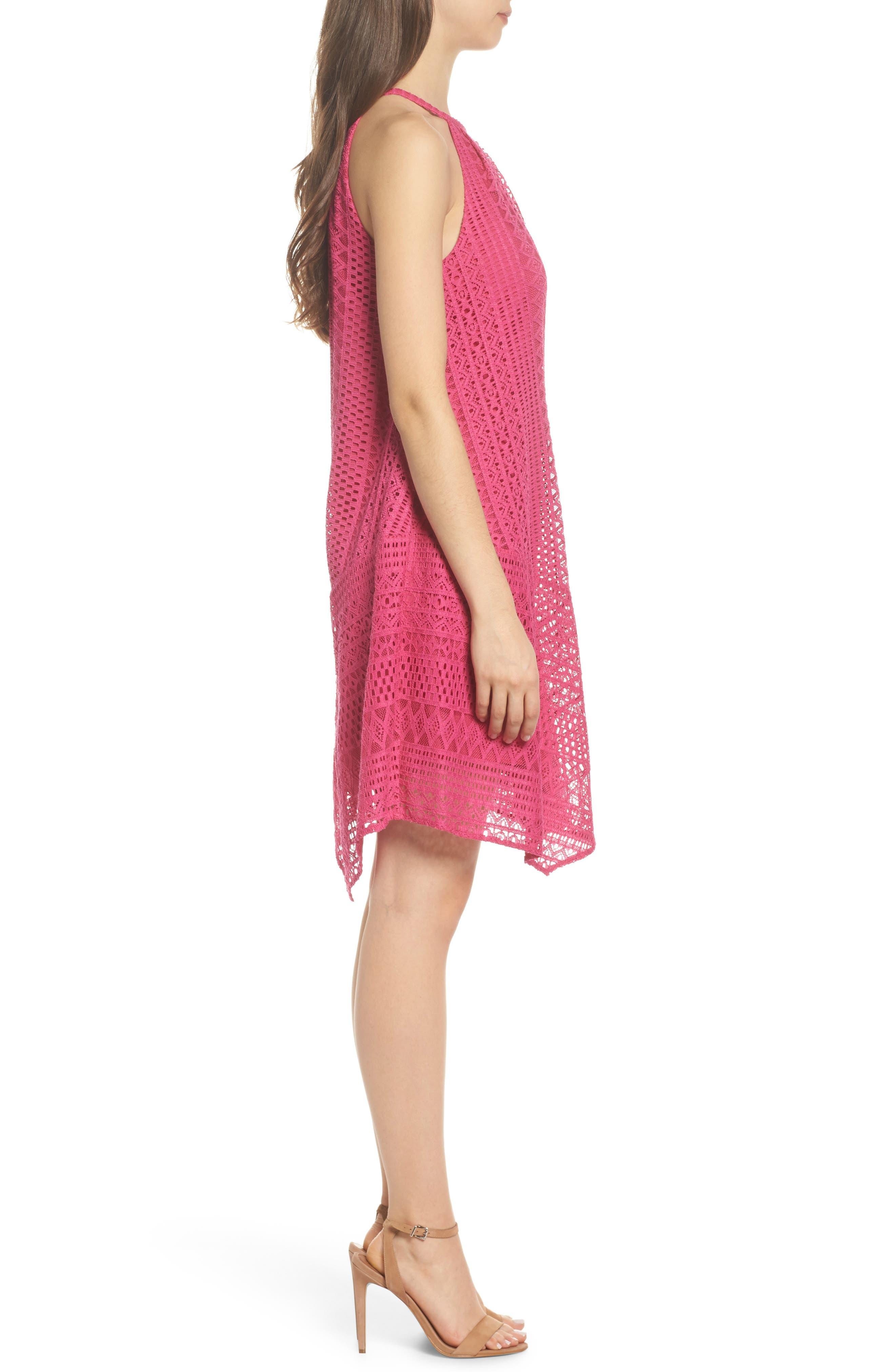 Geo Lace Trapeze Dress,                             Alternate thumbnail 3, color,                             Pink