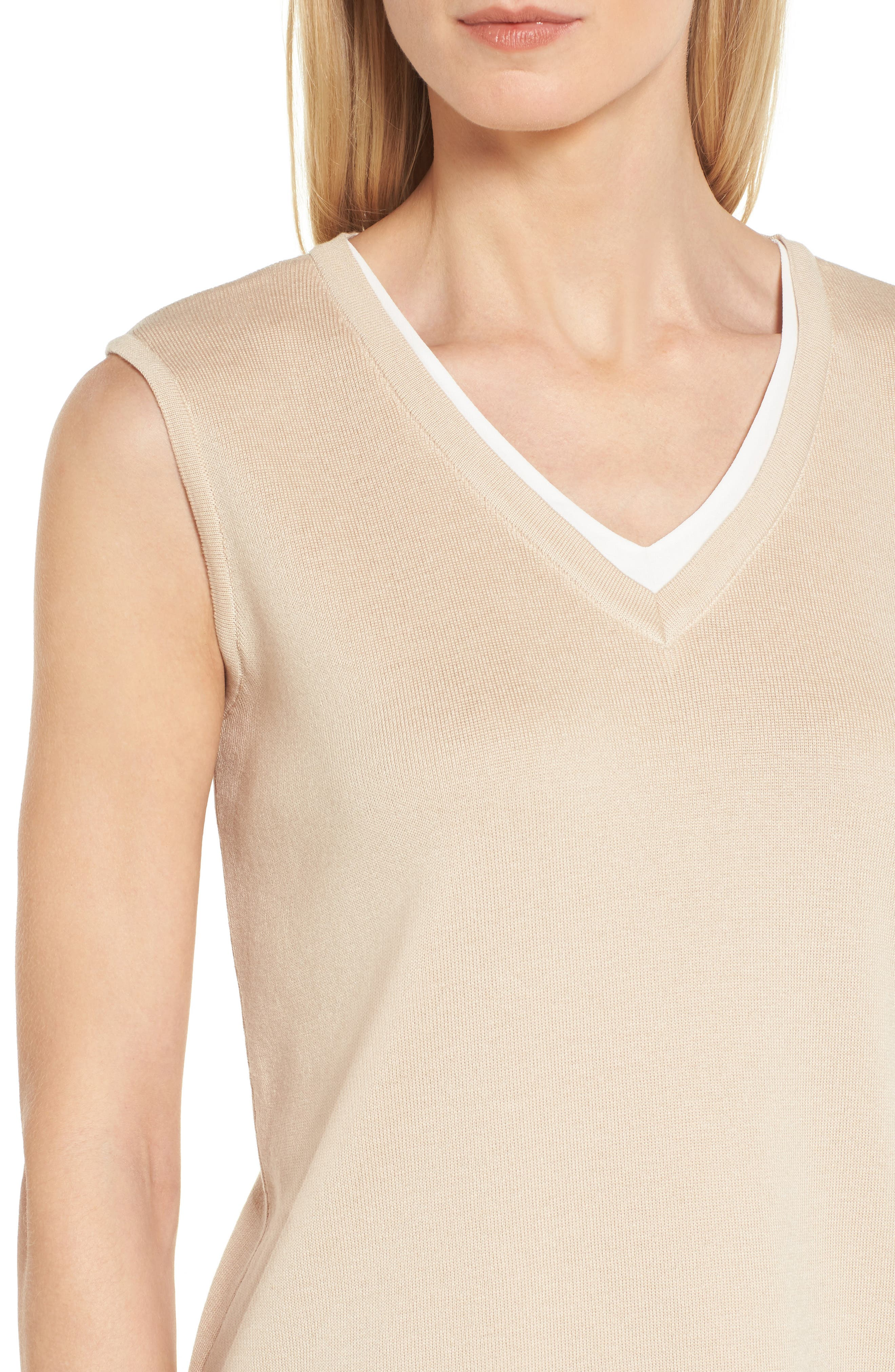 Knit Contrast Tank Top,                             Alternate thumbnail 4, color,                             Twig/ White