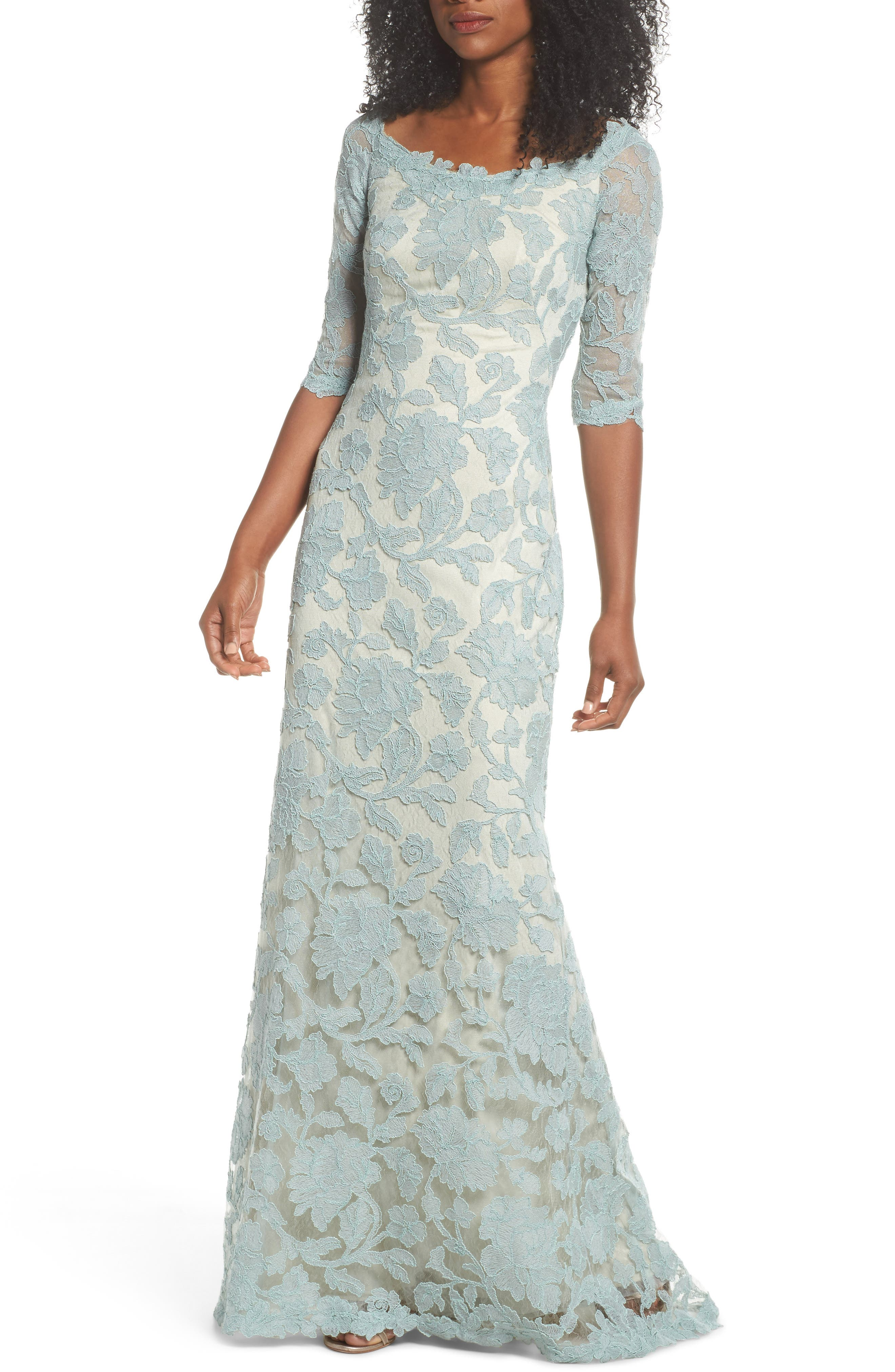 Embroidered Boat Neck Mermaid Gown,                             Main thumbnail 1, color,                             Mint/ Natural
