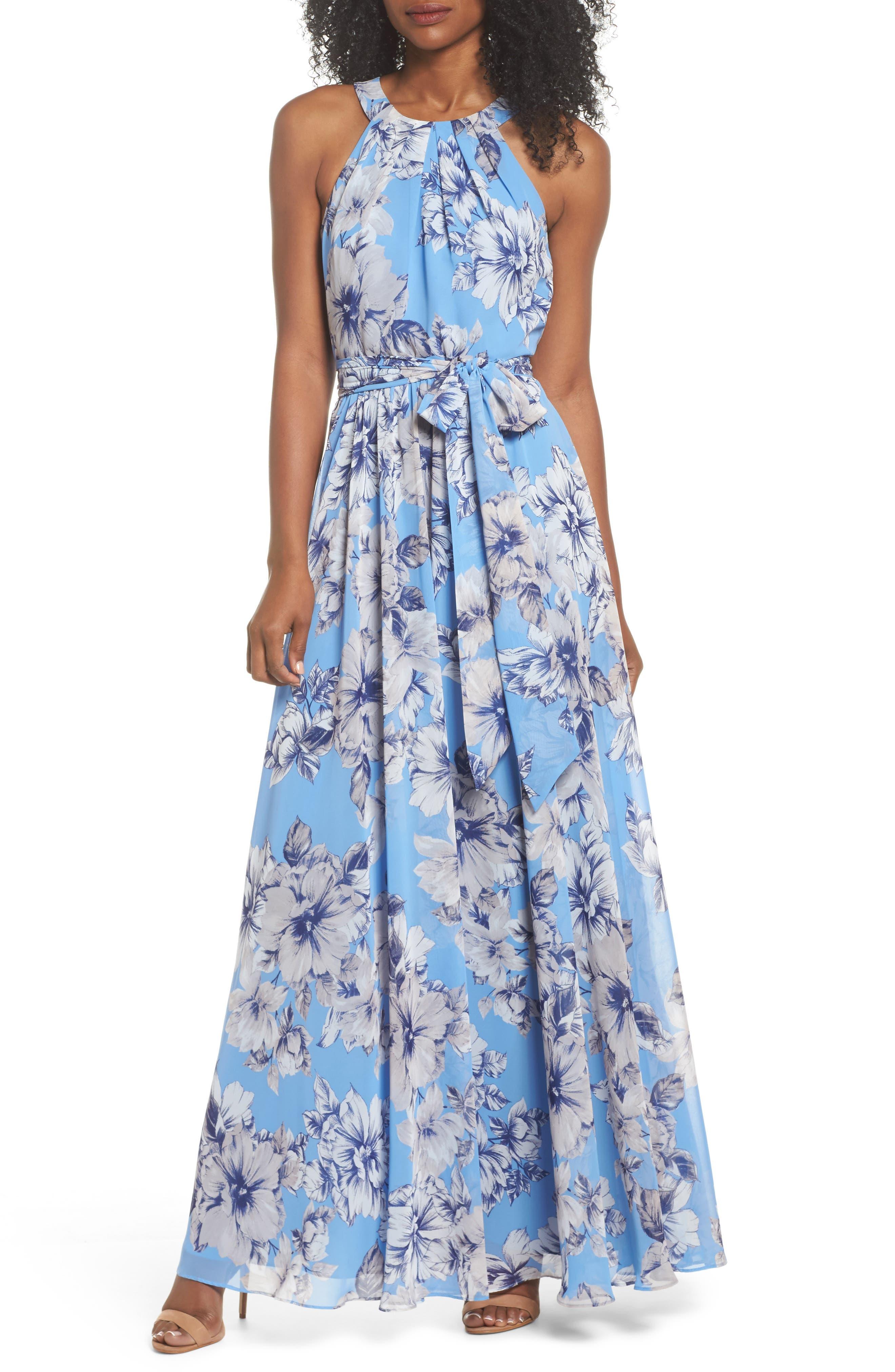 Halter Maxi Dress,                         Main,                         color, Blue