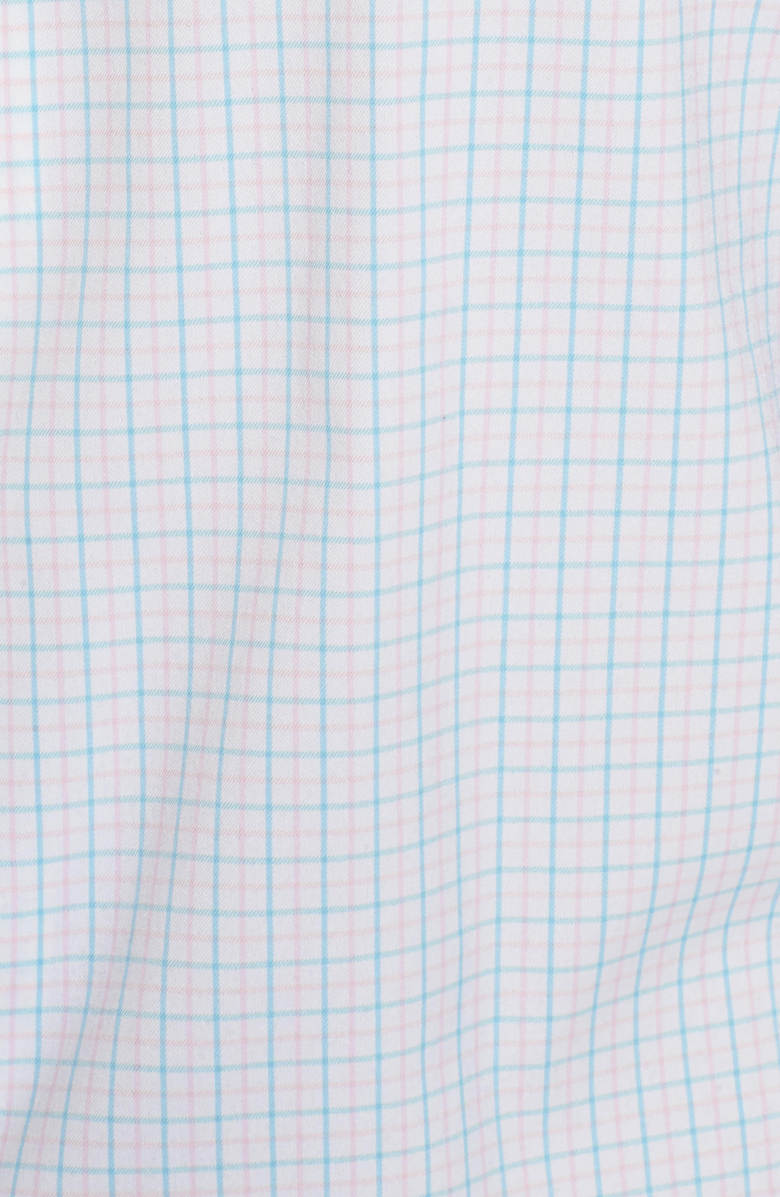 Waldorf Regular Fit Tattersall Performance Sport Shirt,                             Alternate thumbnail 5, color,                             White/ Piglet Pink