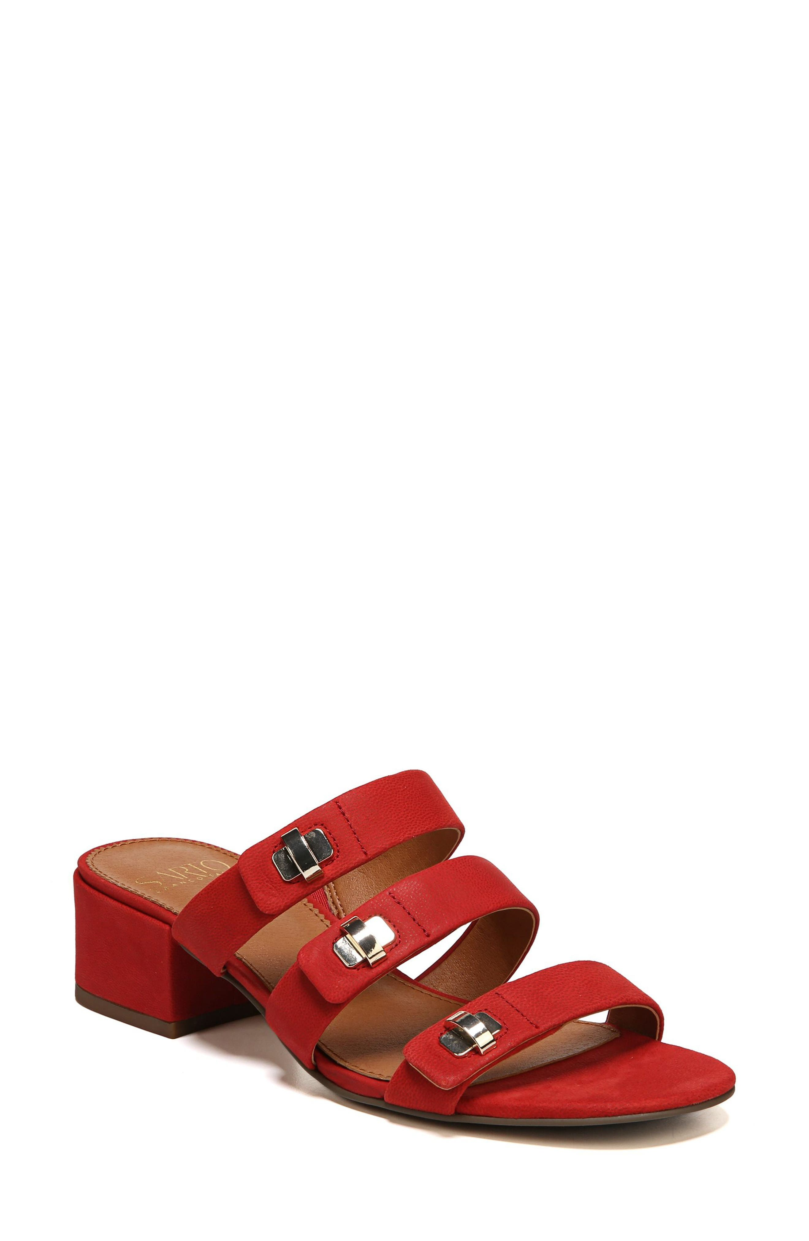 Arabesque Strappy Slide Sandal,                             Main thumbnail 1, color,                             Pop Red Nubuck