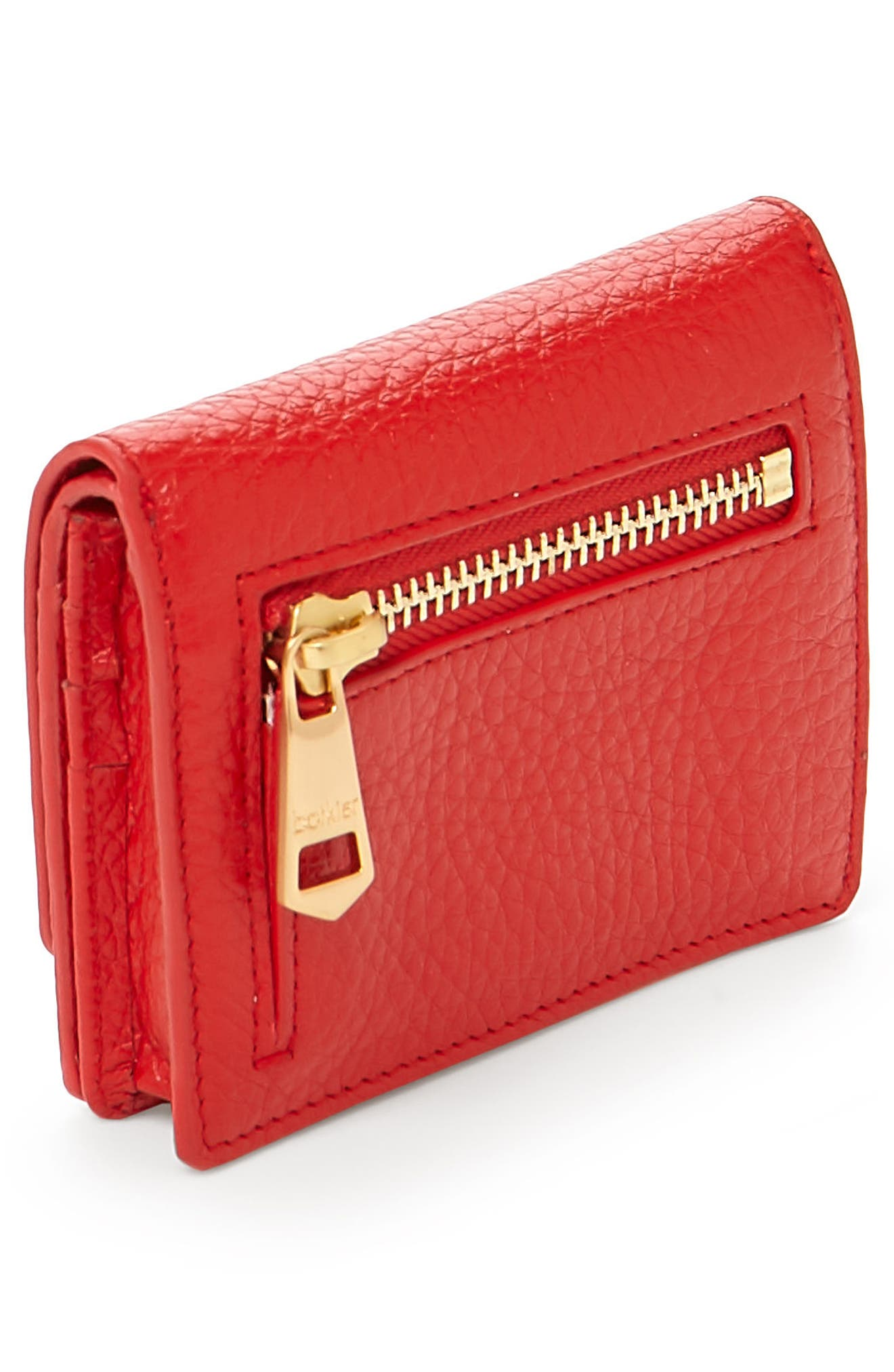 Soho Mini Leather Wallet,                             Alternate thumbnail 3, color,                             Poppy
