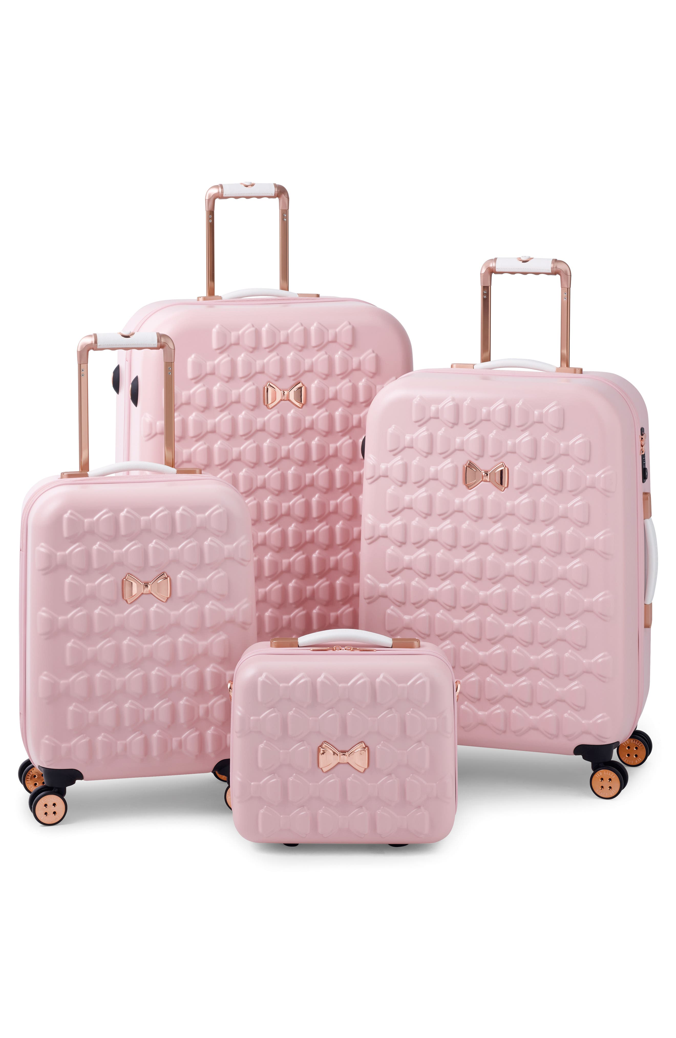 Medium Beau Bow Embossed Four-Wheel 27-Inch Trolley Suitcase,                             Alternate thumbnail 8, color,                             Pink